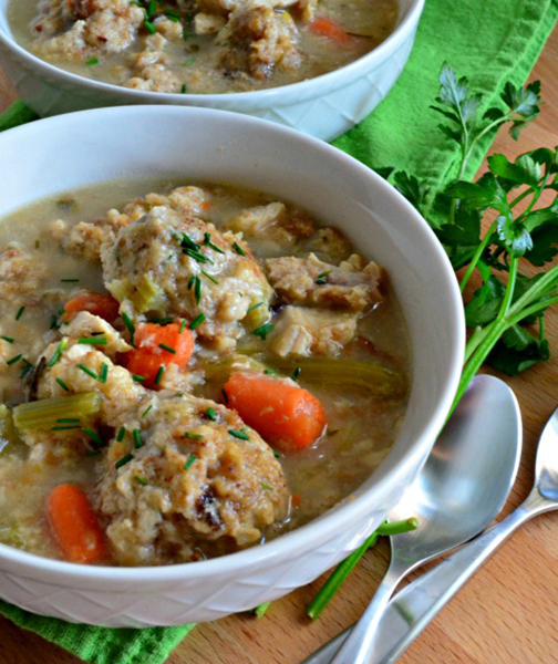 Turkey and Stuffing Dumpling Soup