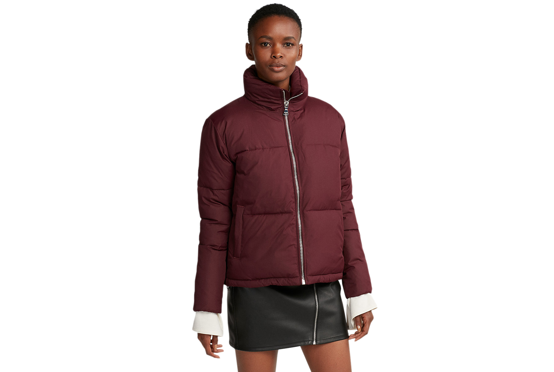 Zip Front Short Puffer Coat