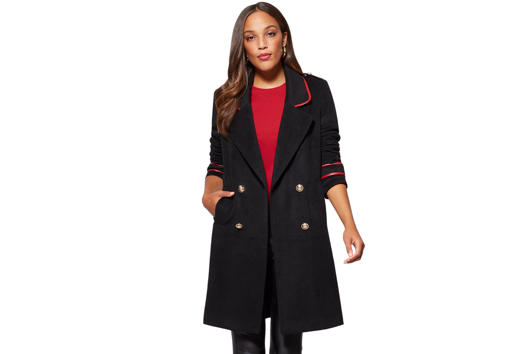 Faux-Leather Trim Military Coat