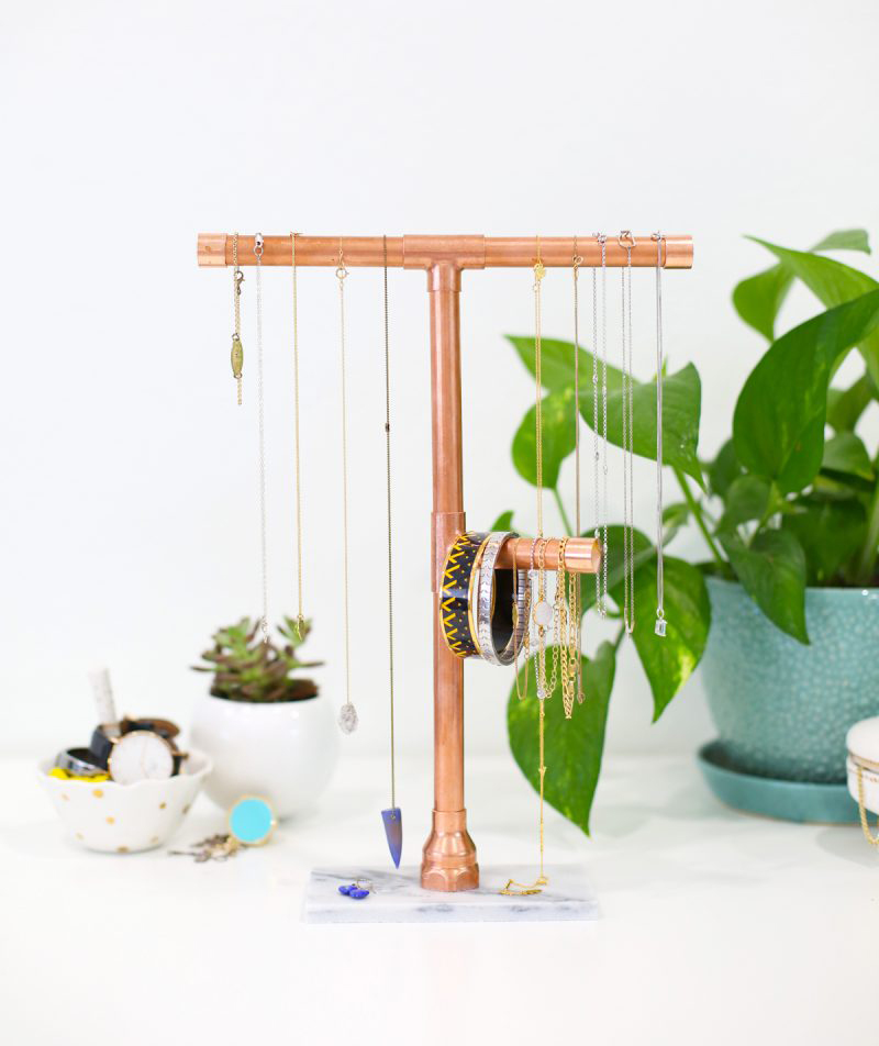 Copper and Marble Jewelry Stand