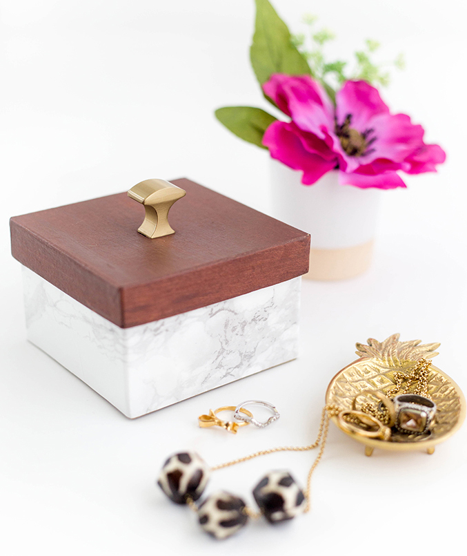 Faux Wood And Marble Trinket Box
