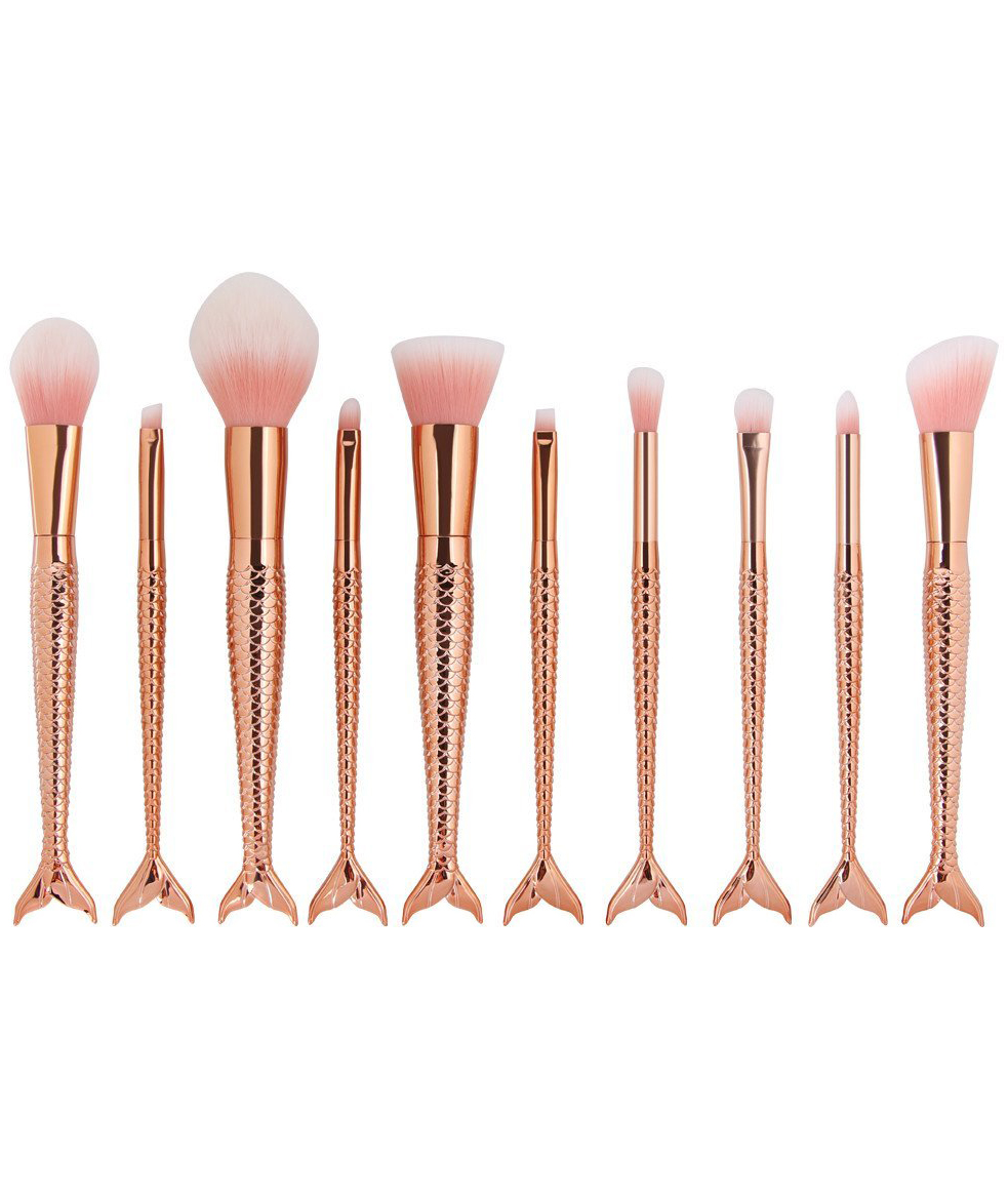 Coshine 10pcs/set Rose Gold Unique Mermaid Makeup Brush Set Cosmetic Tools Kits