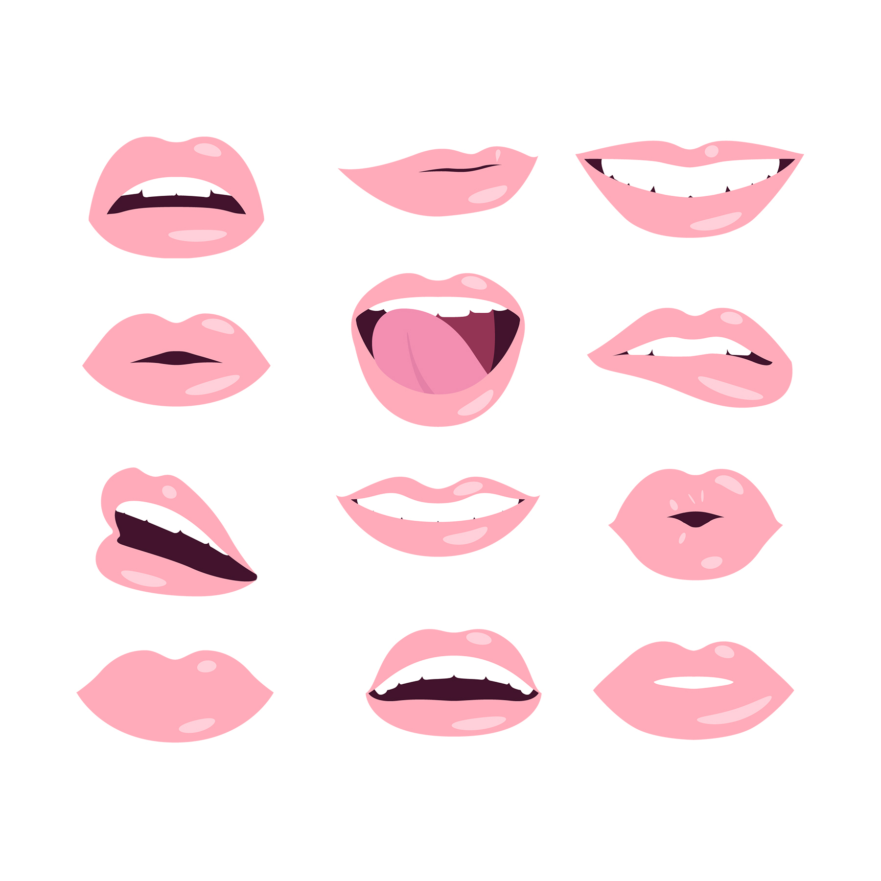 Illustration: lots of pink lips