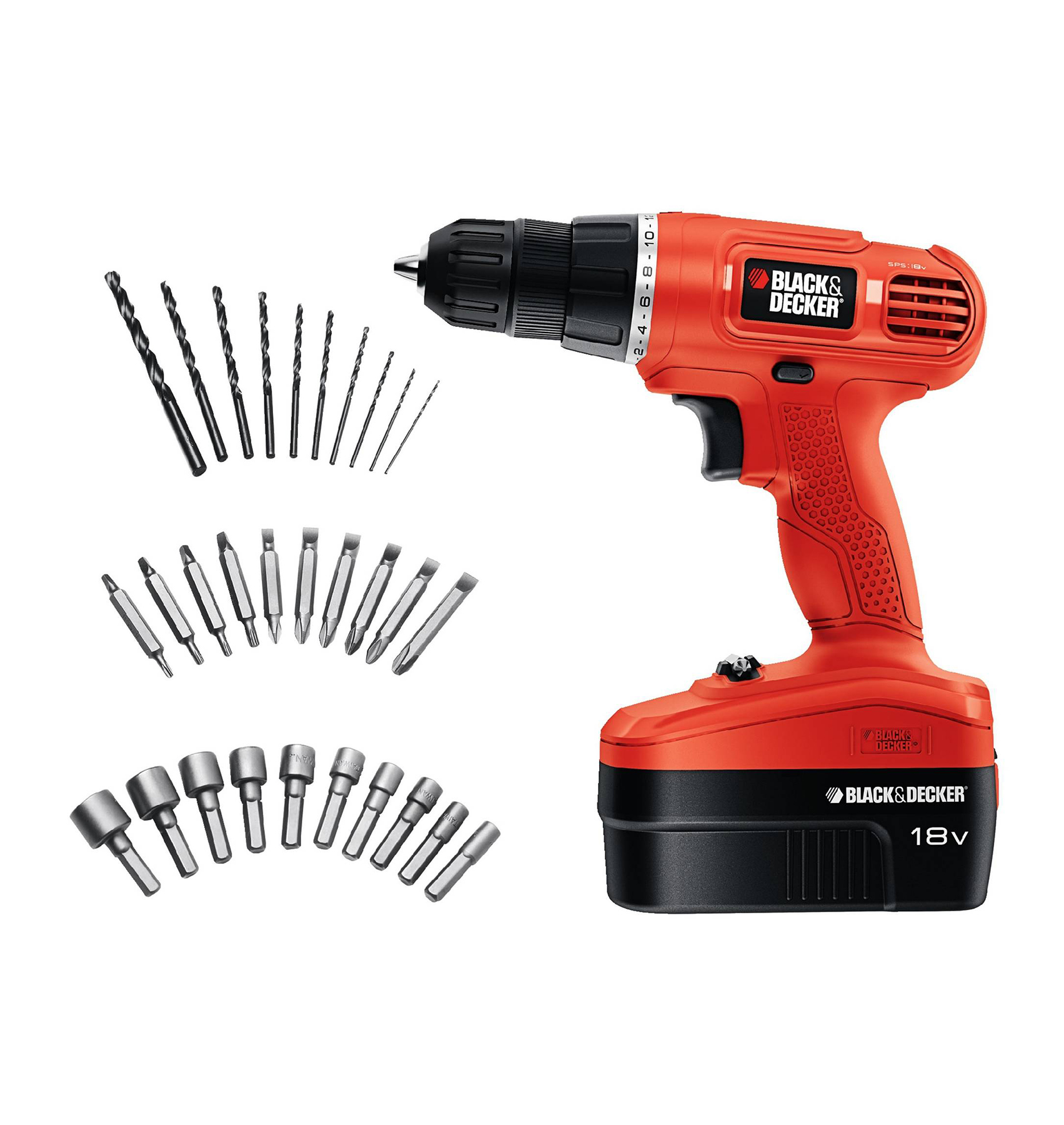 Black + Decker 18v Cordless Power Drill/Driver with 30 Bonus Accessories