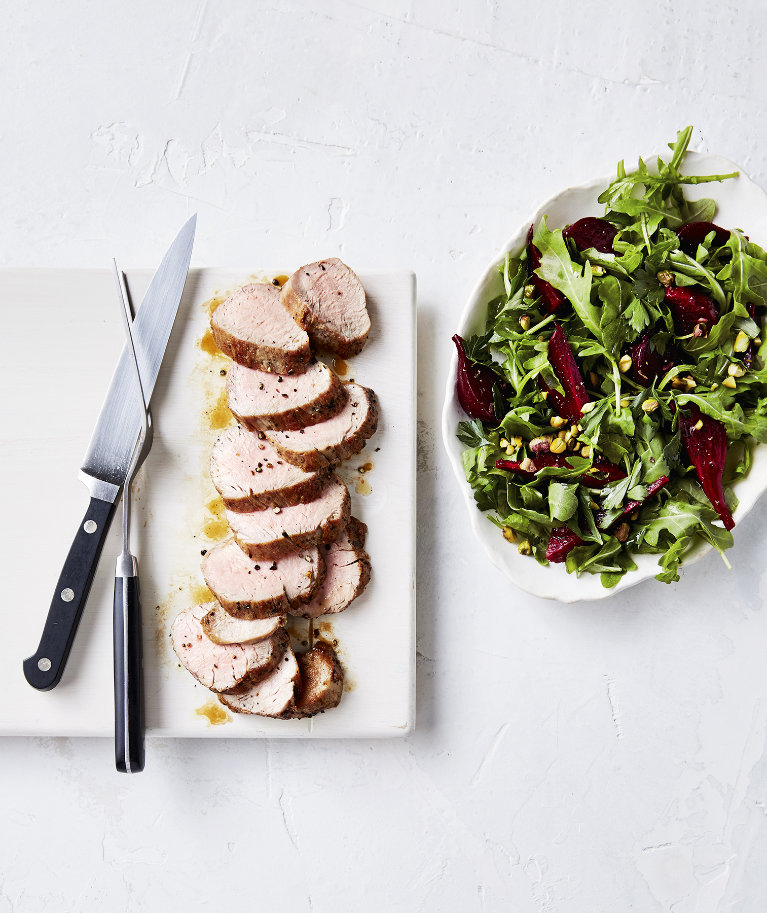 Pork Tenderloin With Beet and Pistachio Salad