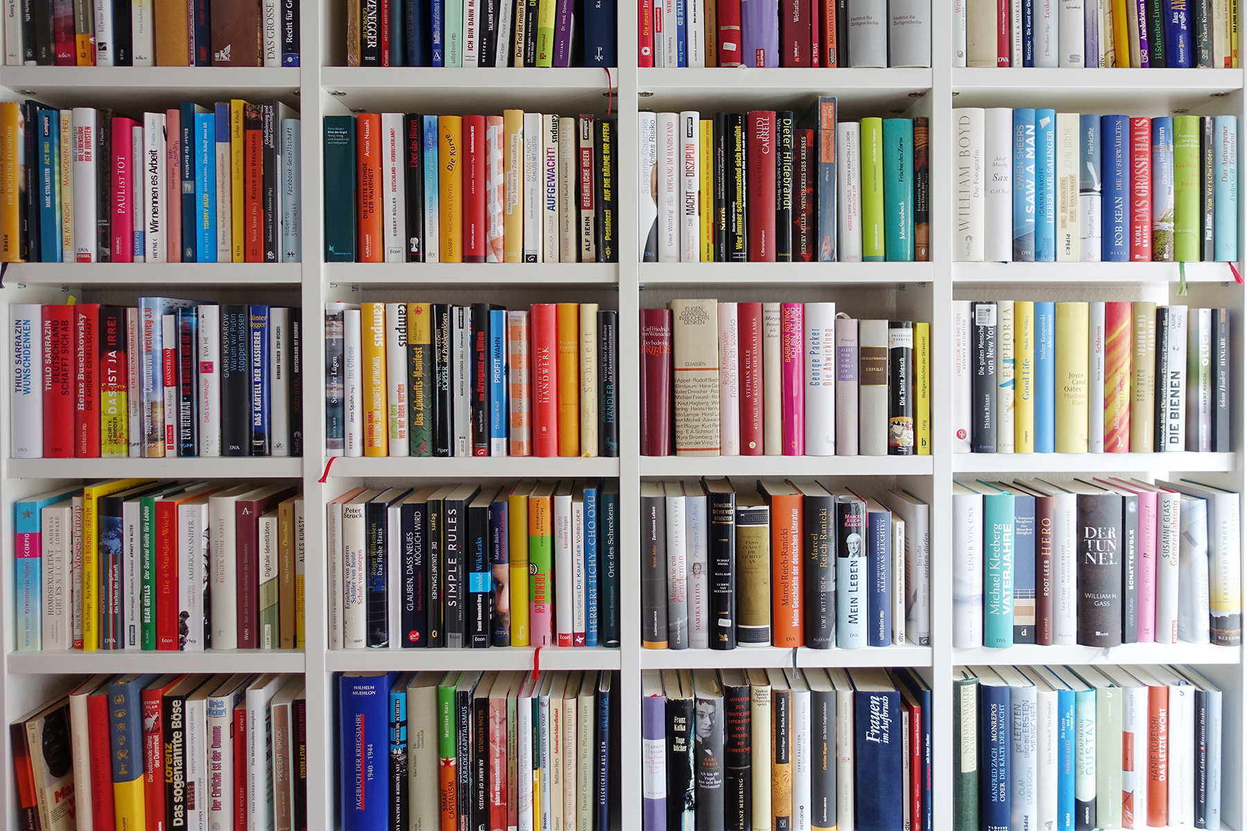 Books on white bookshelf
