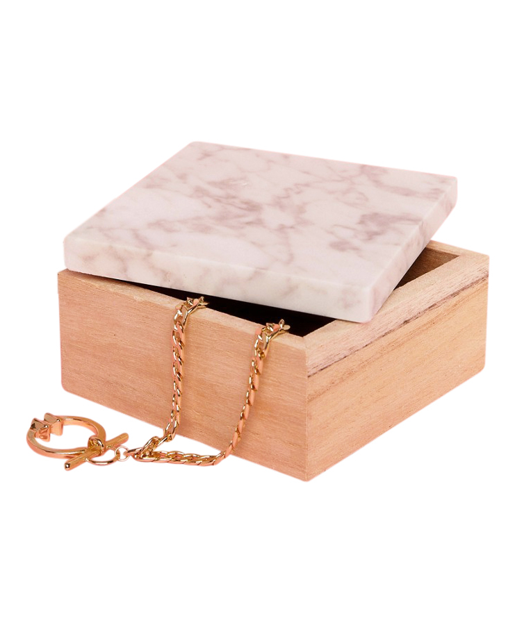 Mimo Wooden Jewelry Box with Marble Lid