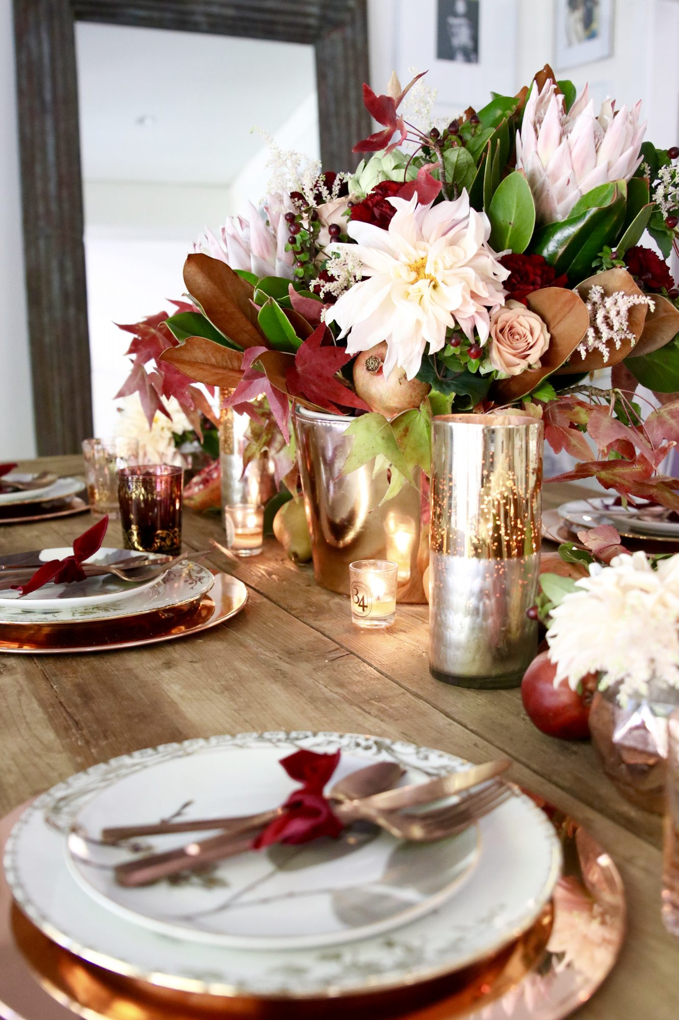 Pink Thanksgiving Table Setting & 44 Thanksgiving Table Settings for 2017