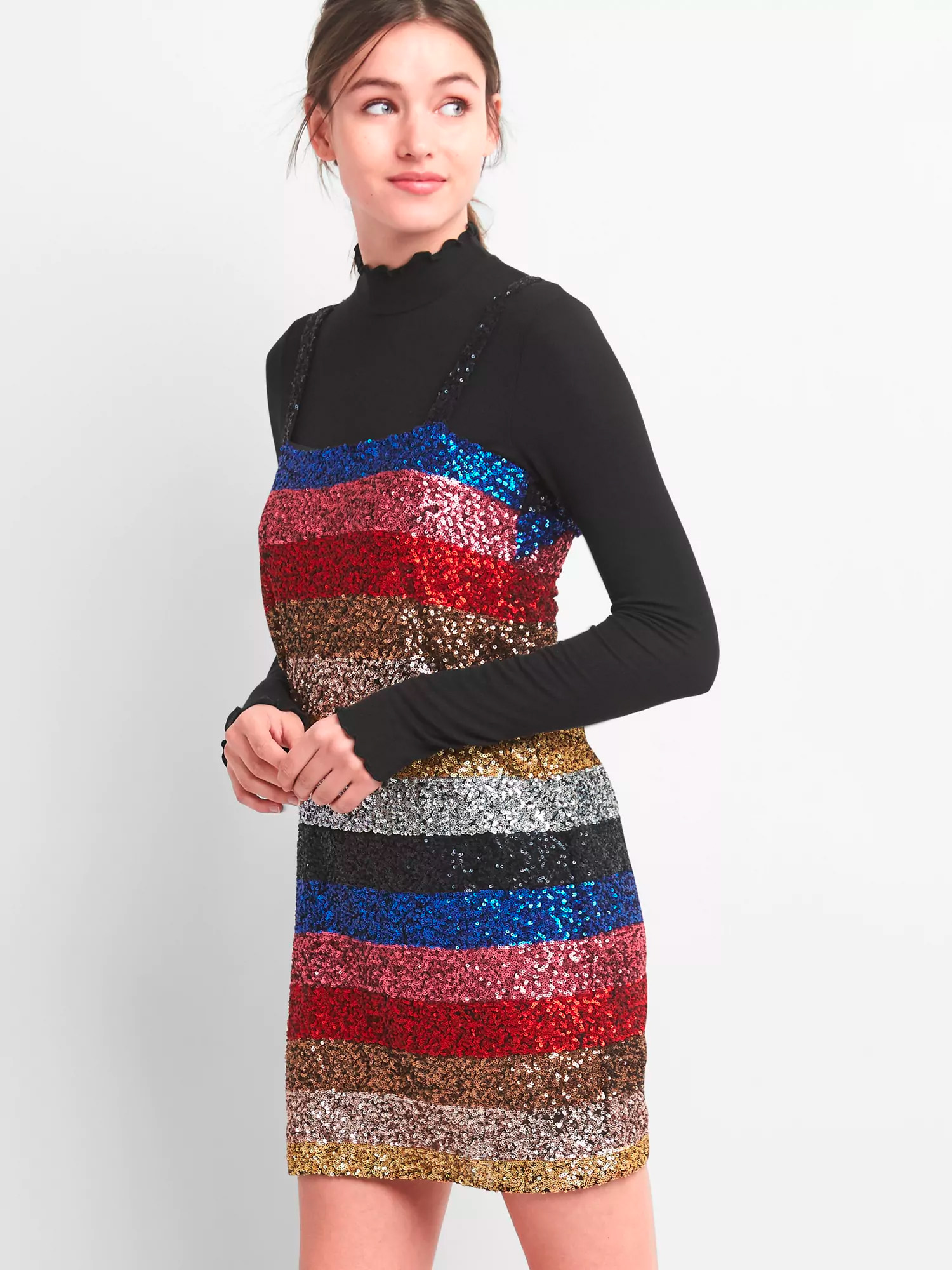 Gap Stripe Sleeveless Sequin Dress