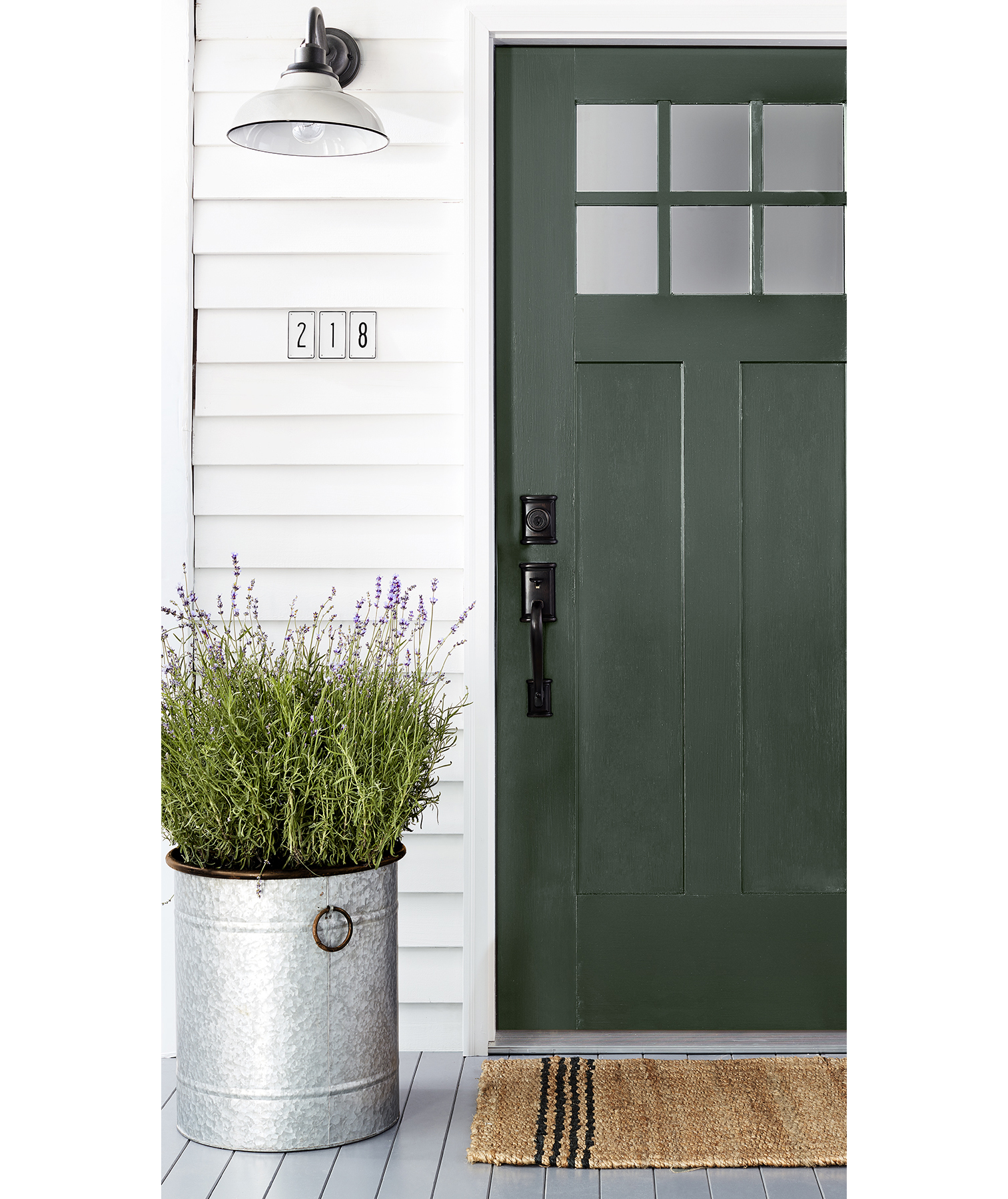 White Farmhouse With Green Front Door