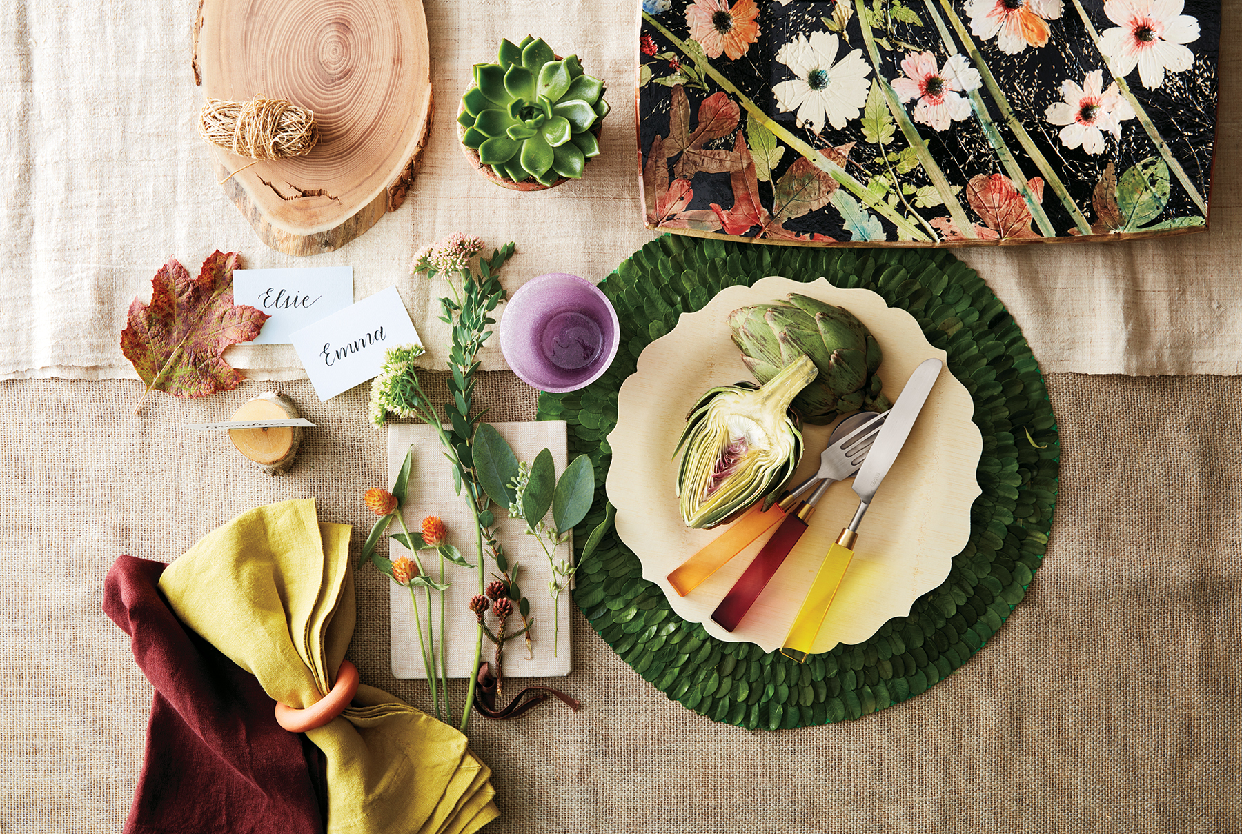 Thanksgiving table with organic-looking design