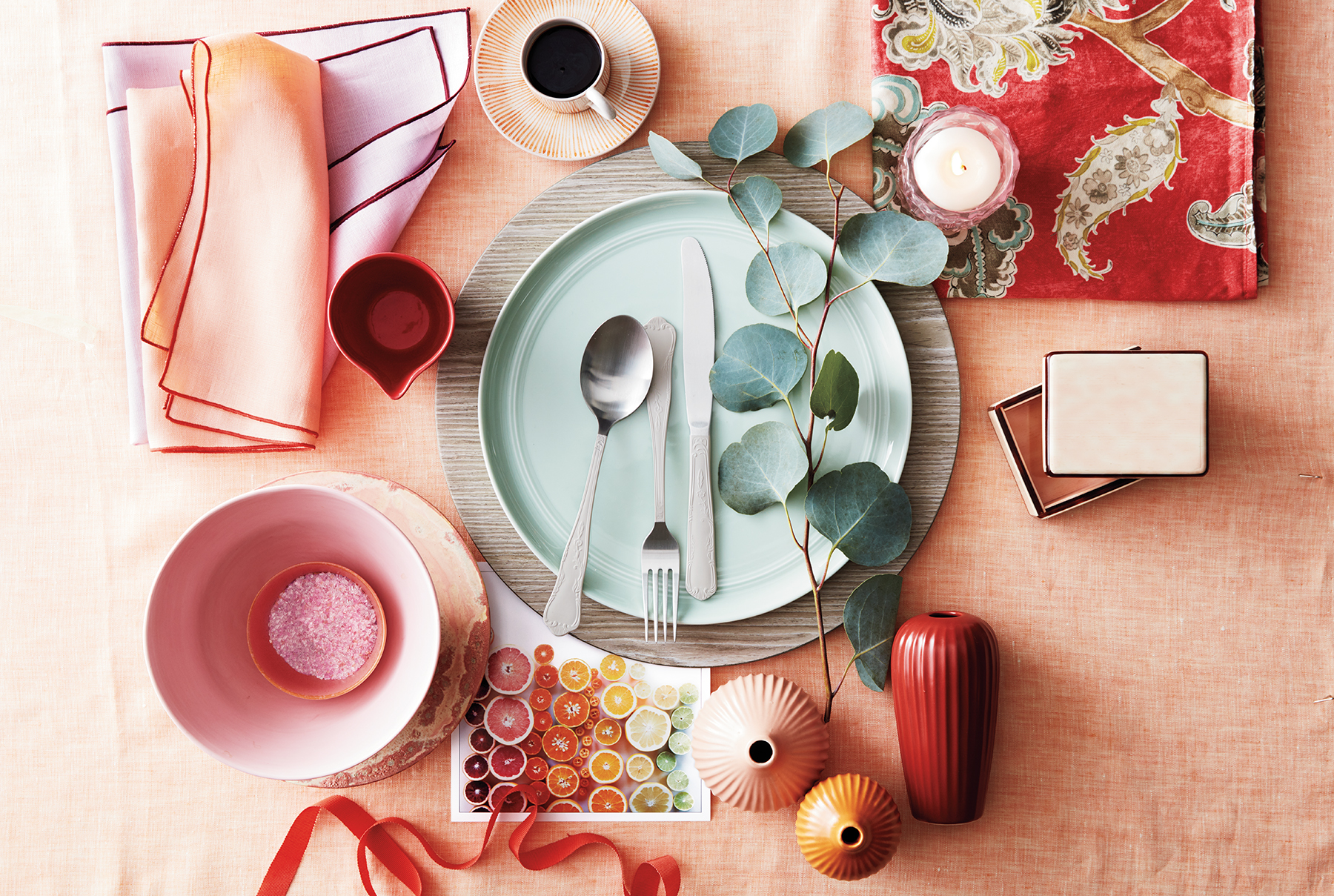 Thanksgiving table in preppy pastel hues