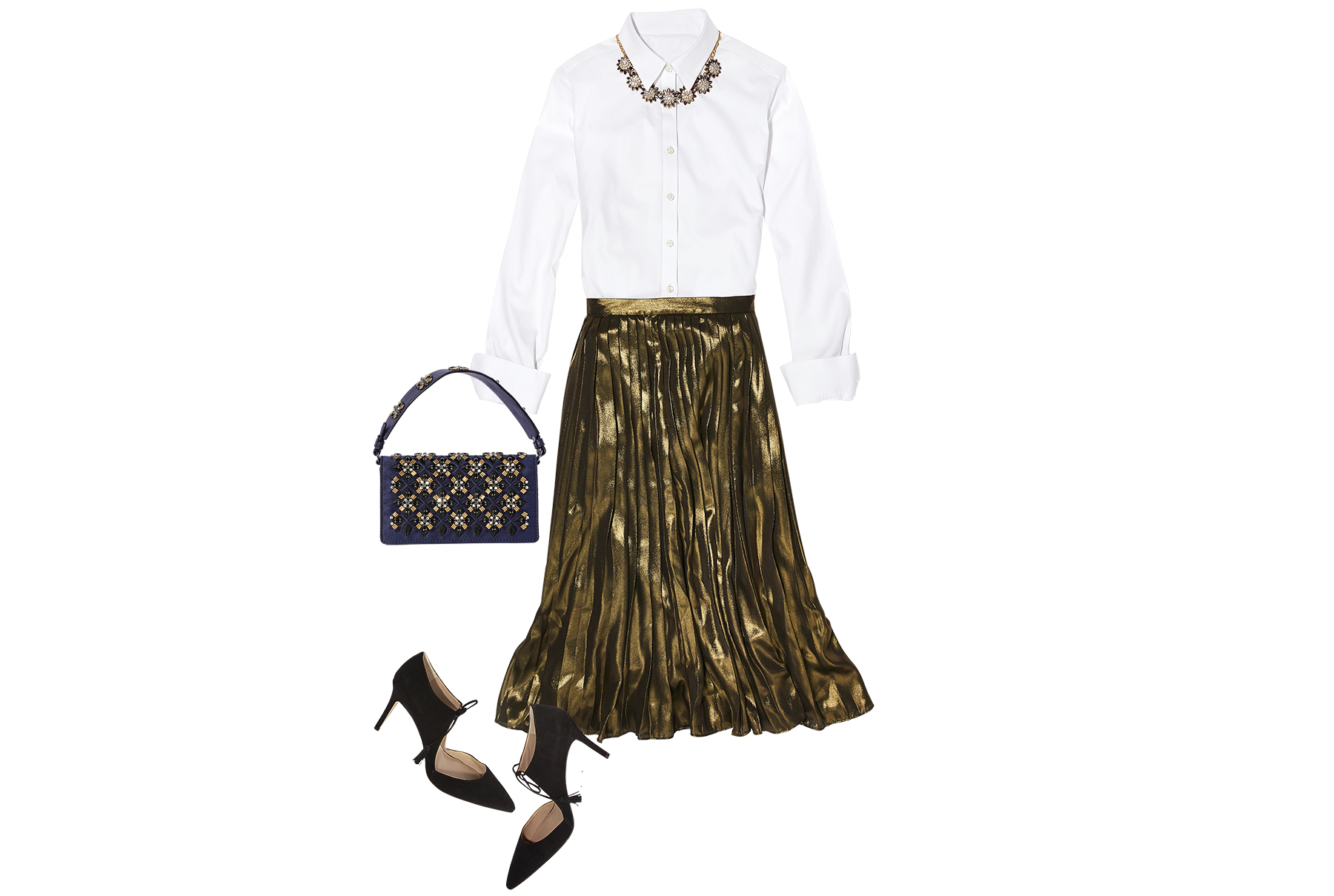 White shirt paired with metallic skirt, tassel heels, suede clutch