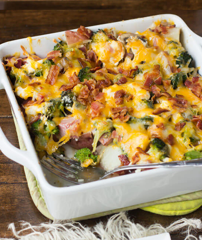 Cheesy Ham and Potato Bacon Casserole