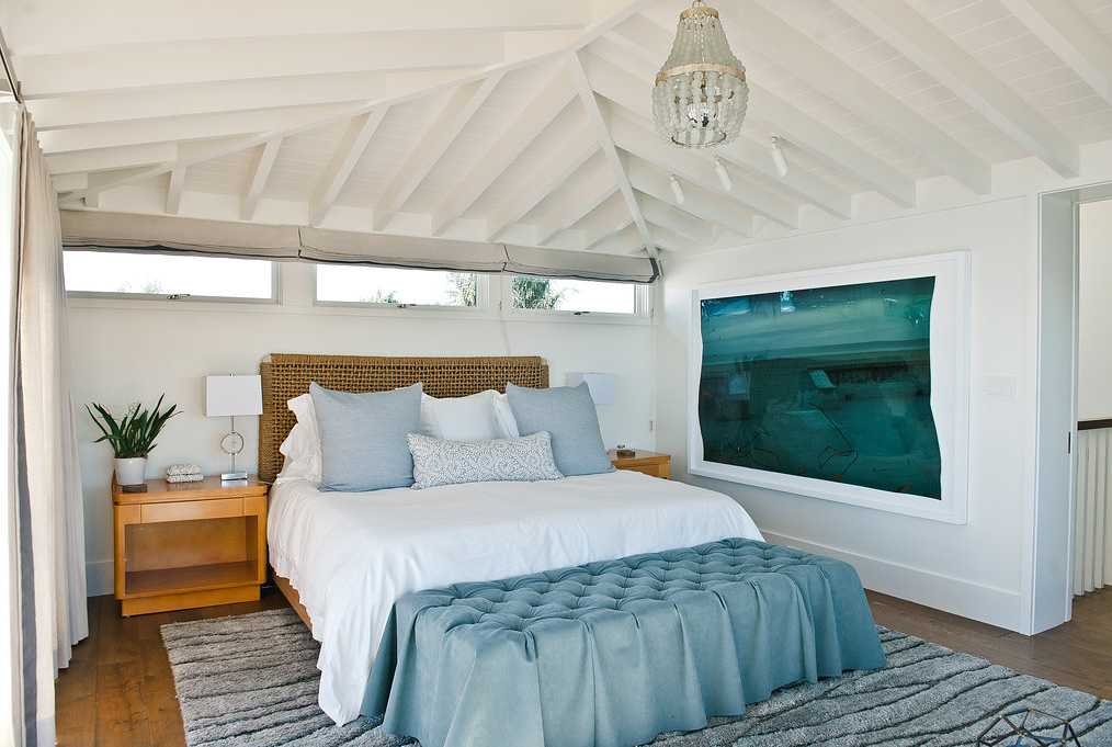 Bedroom With White Beam Ceiling Blue Accents