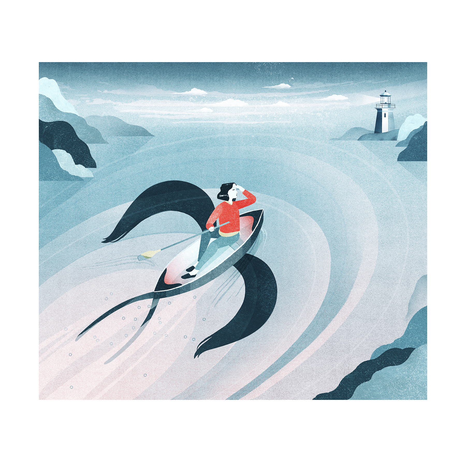 Illustration: Woman in boat making way to lighthouse
