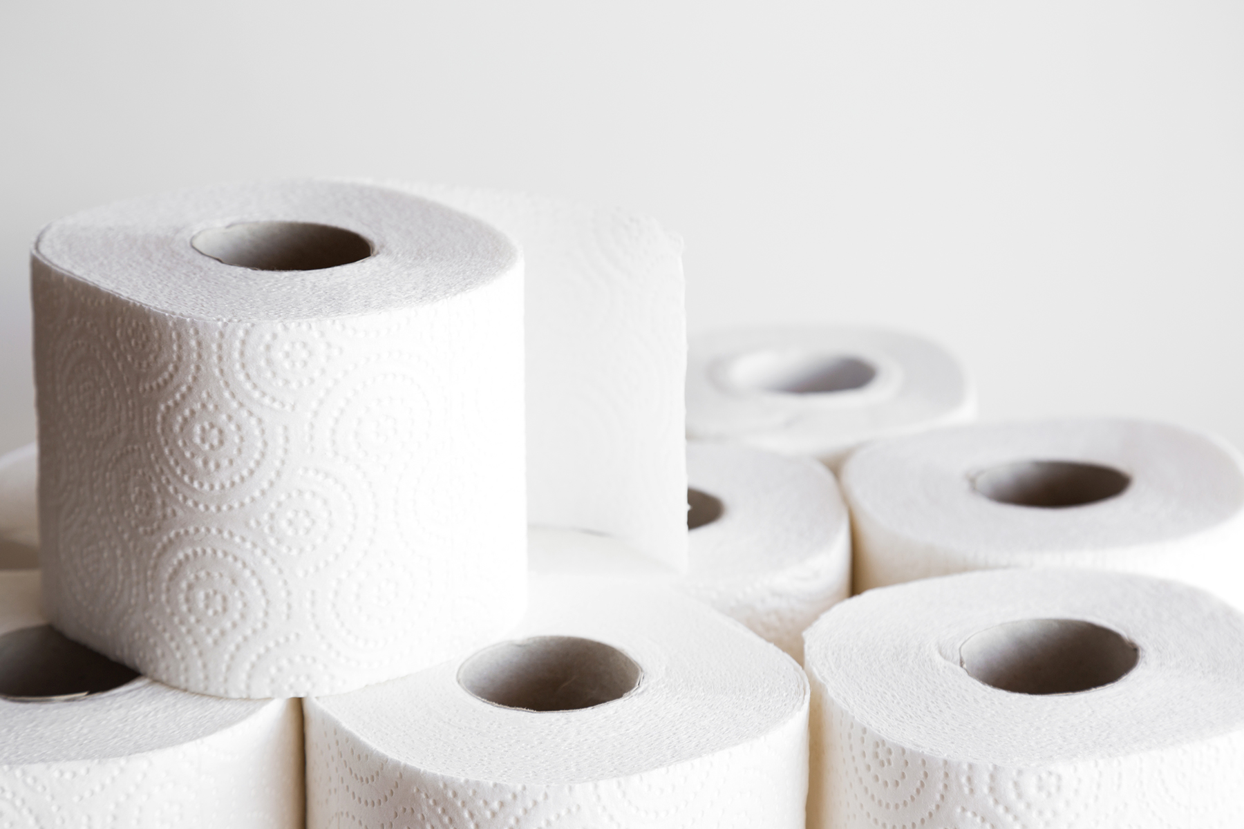 Stack of toilet paper rolls