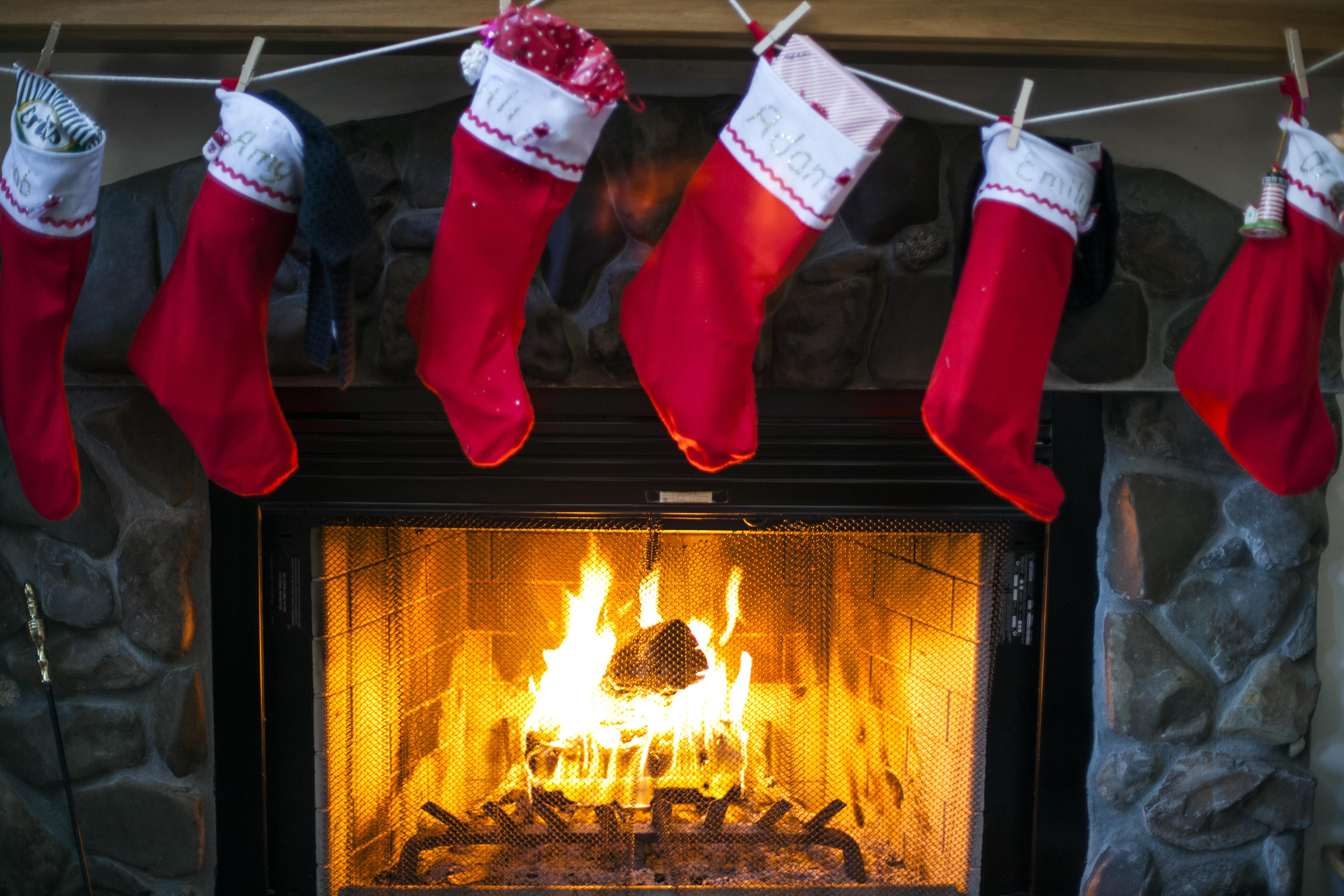 Christmas stockings fireplcae