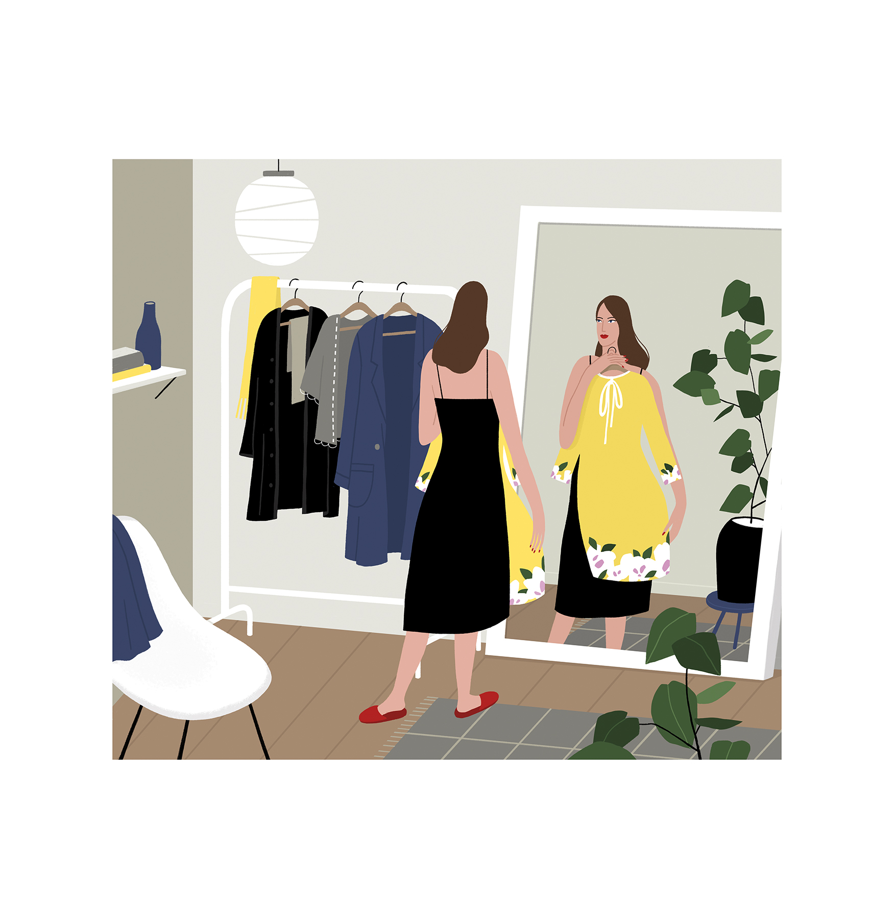 9fb26045 Illustration: Woman looking at dress in mirror at clothing store