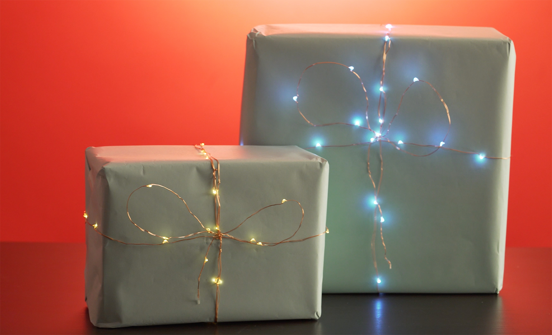 Fairy lights as gift ties
