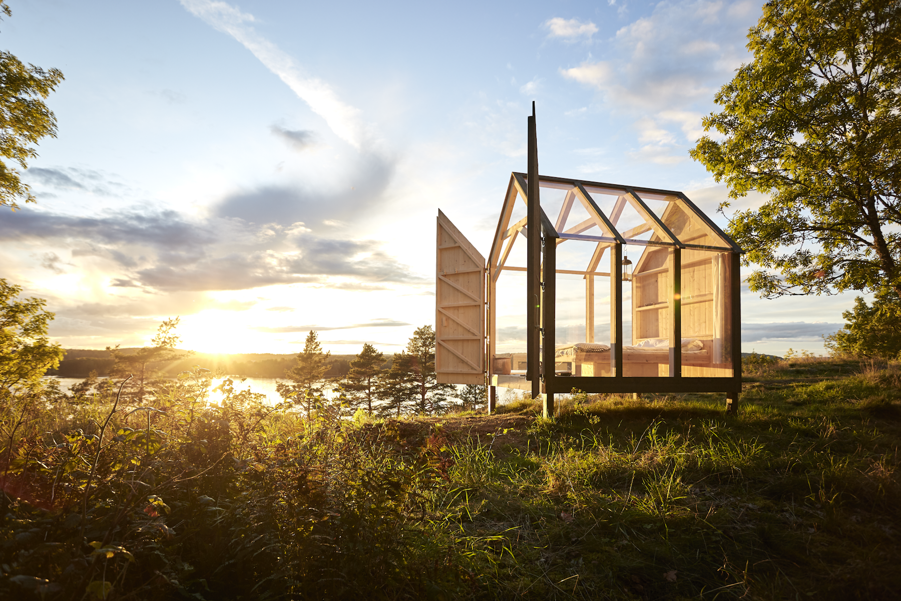 Swedish glass cabin in nature