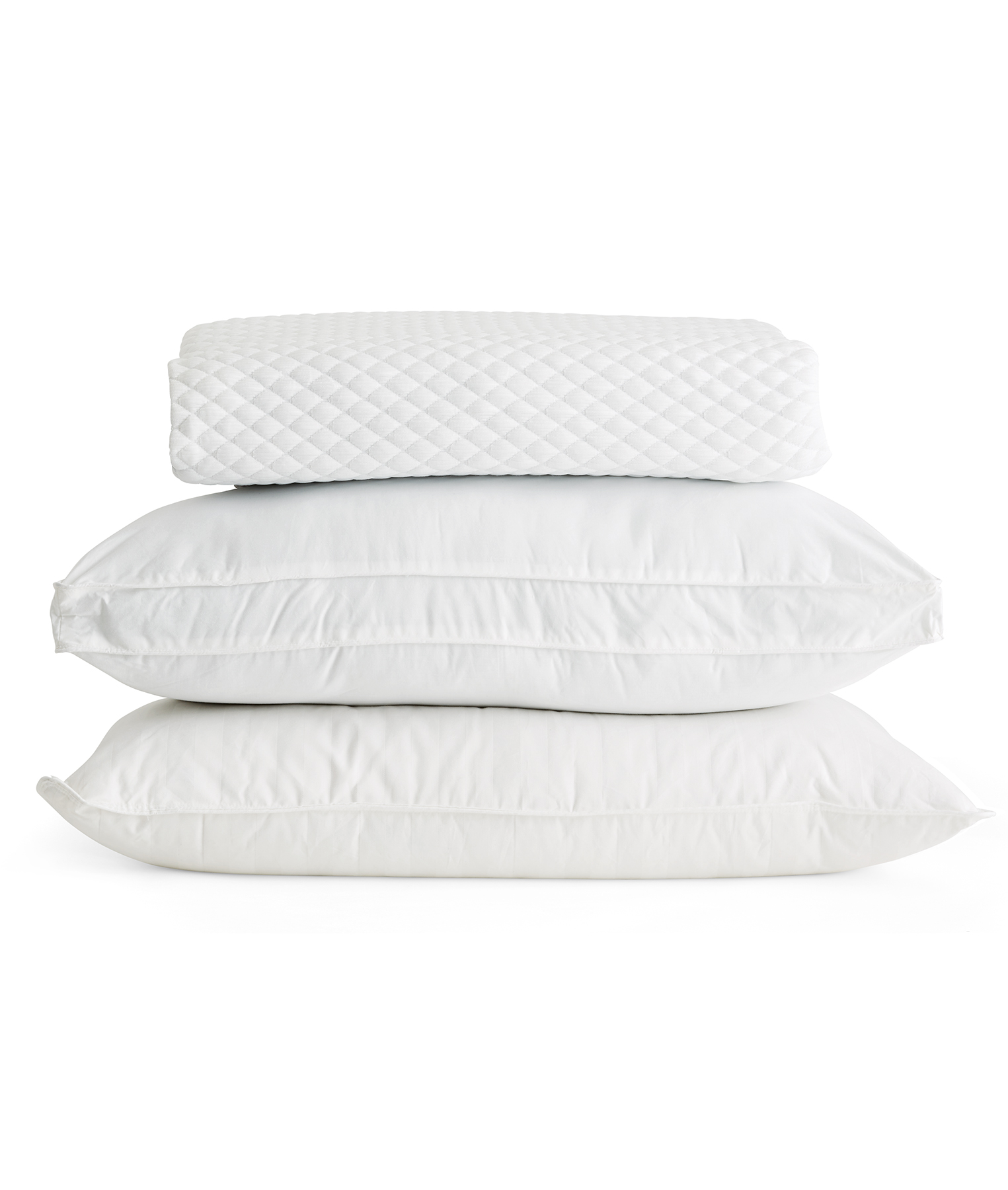 Stack with back, side, and stomach sleeper pillows