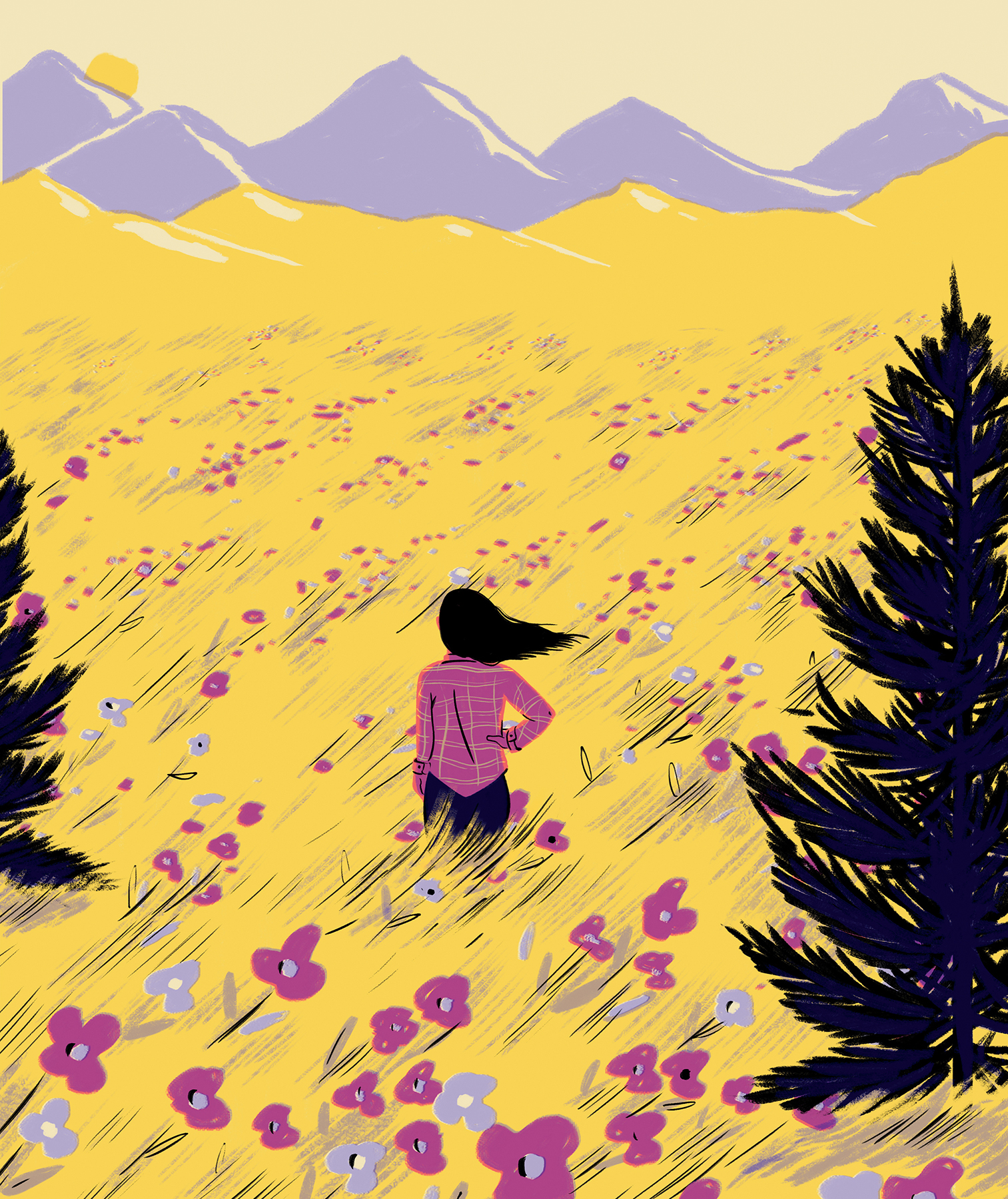 Illustration: Woman in field of flowers