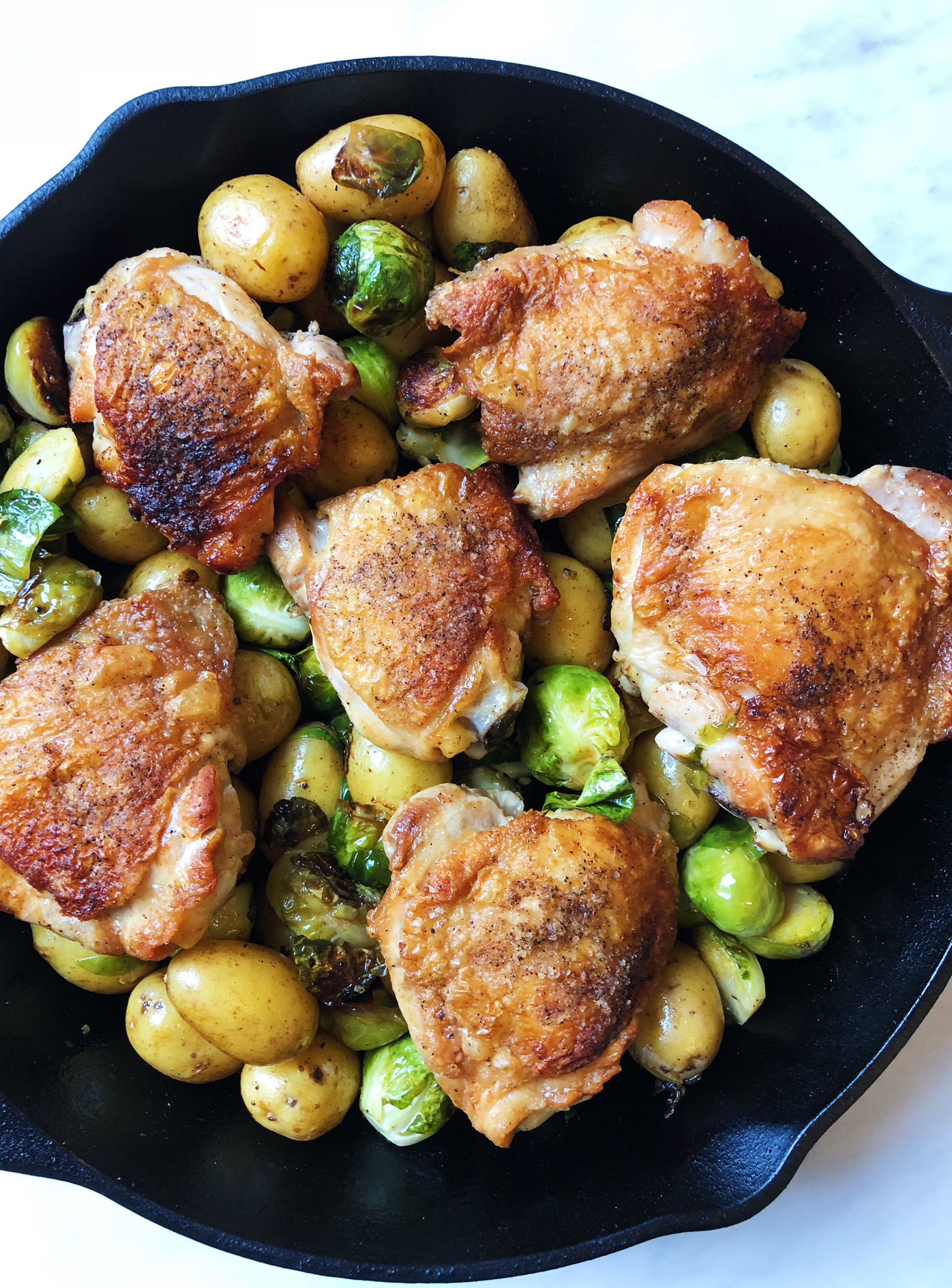Chicken Thighs With Brussels Sprouts and Potatoes
