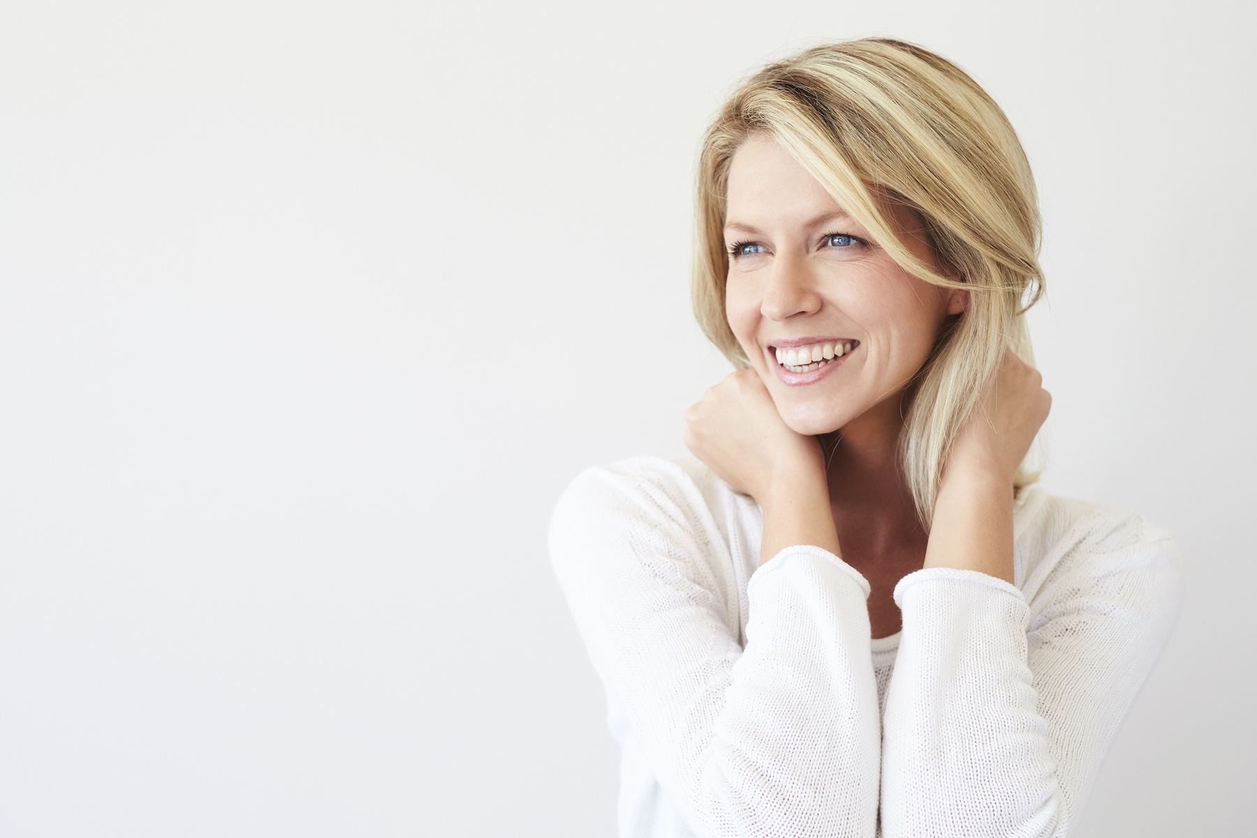 Blond Woman in a White Shirt