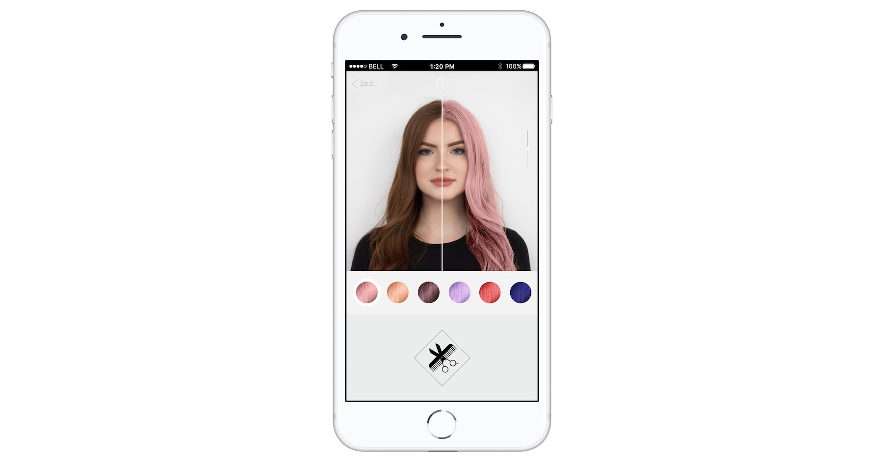 L'Oreal Hair Color App on phone