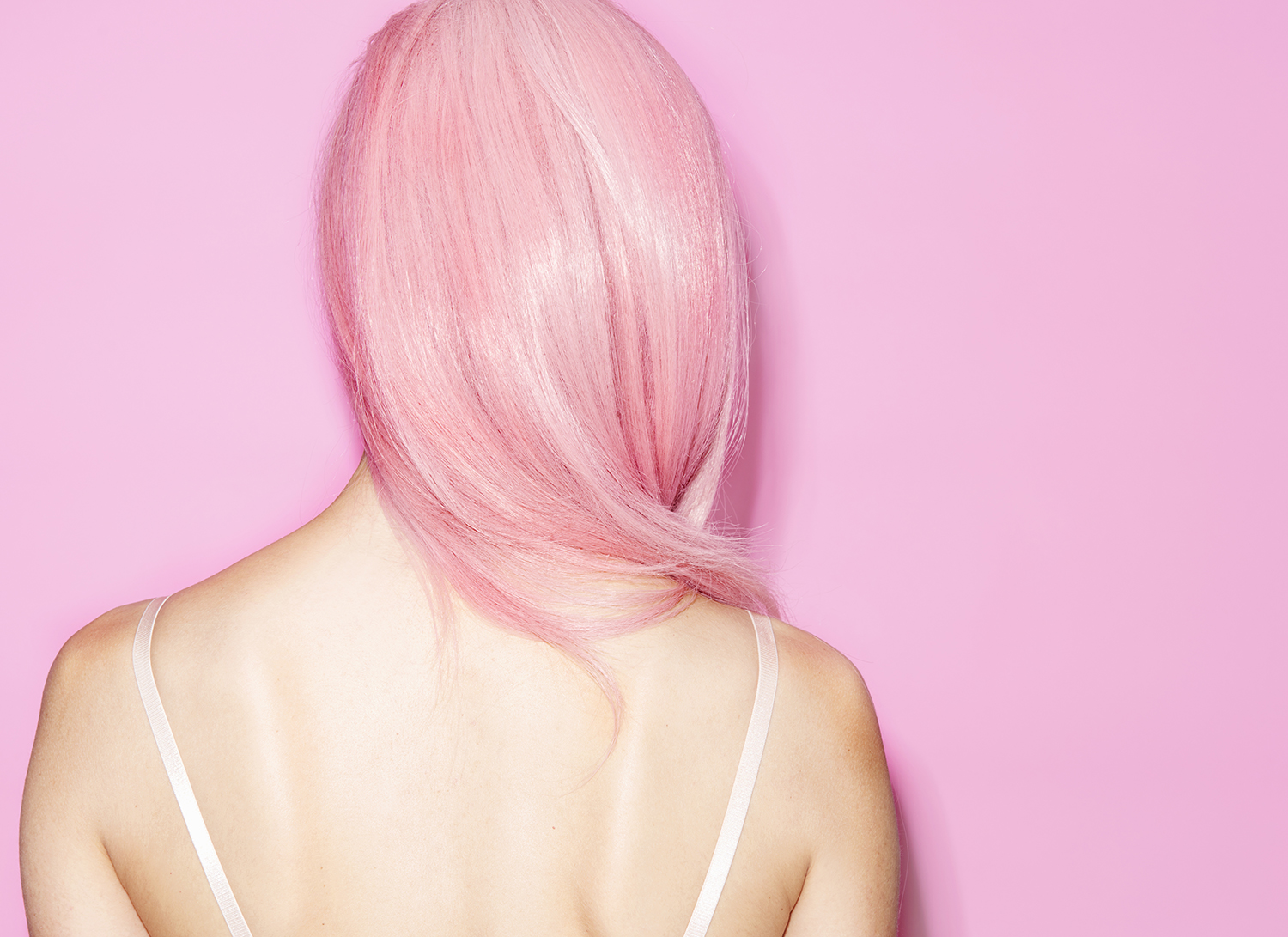 Pink Hair and Pink Background