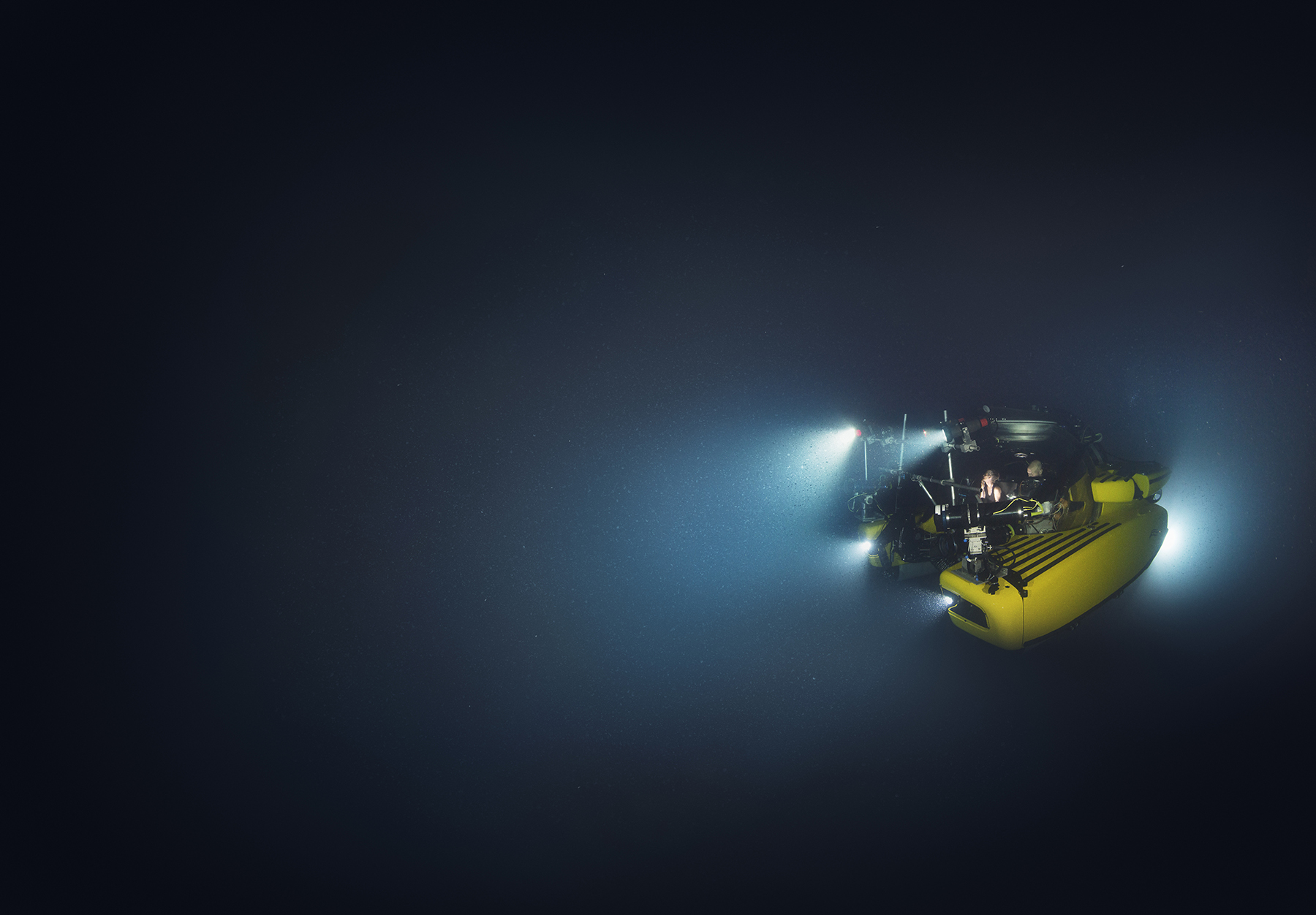 Alucia's submarine in the ocean