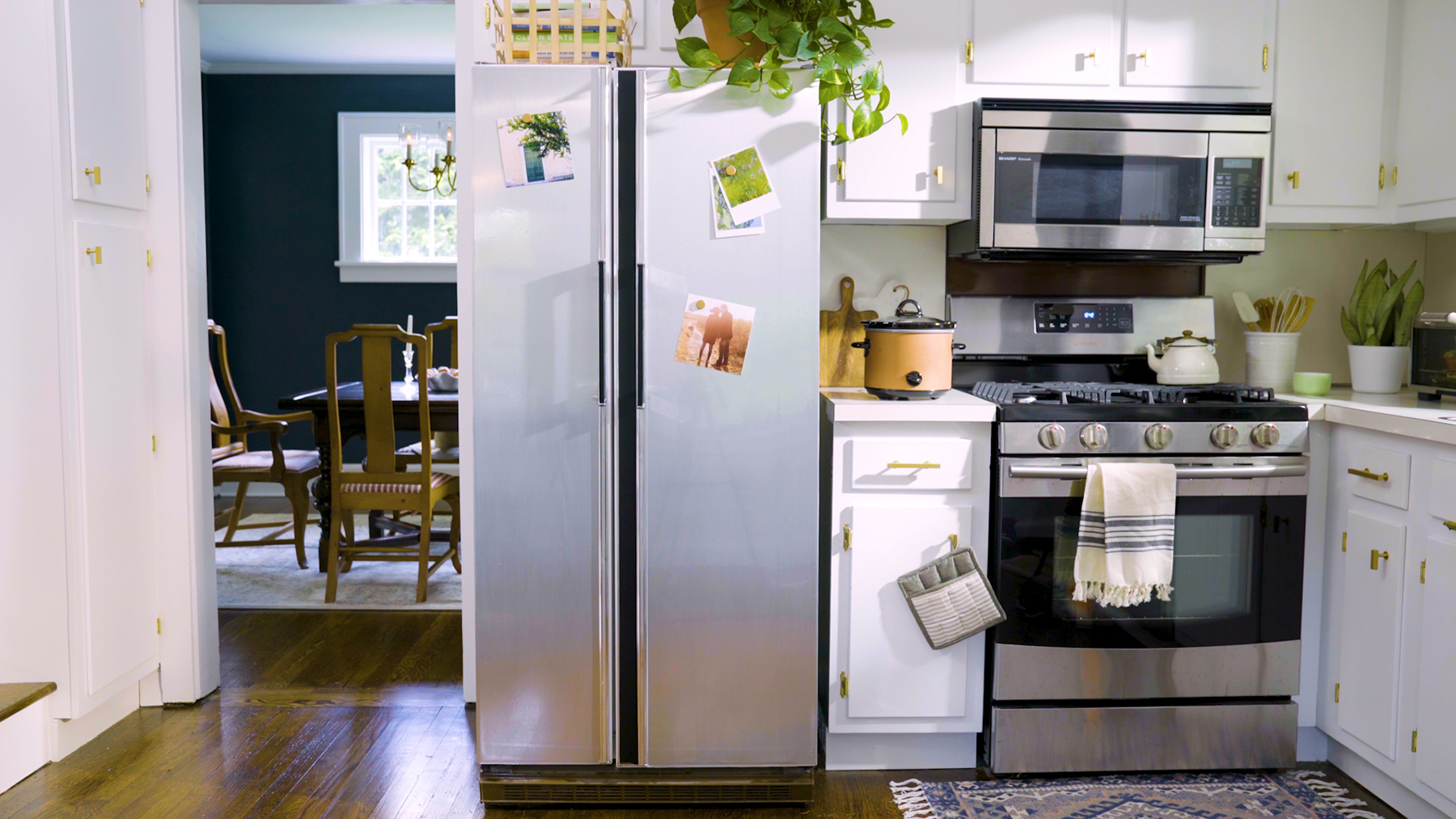 Kitchen with refreshed refrigerator