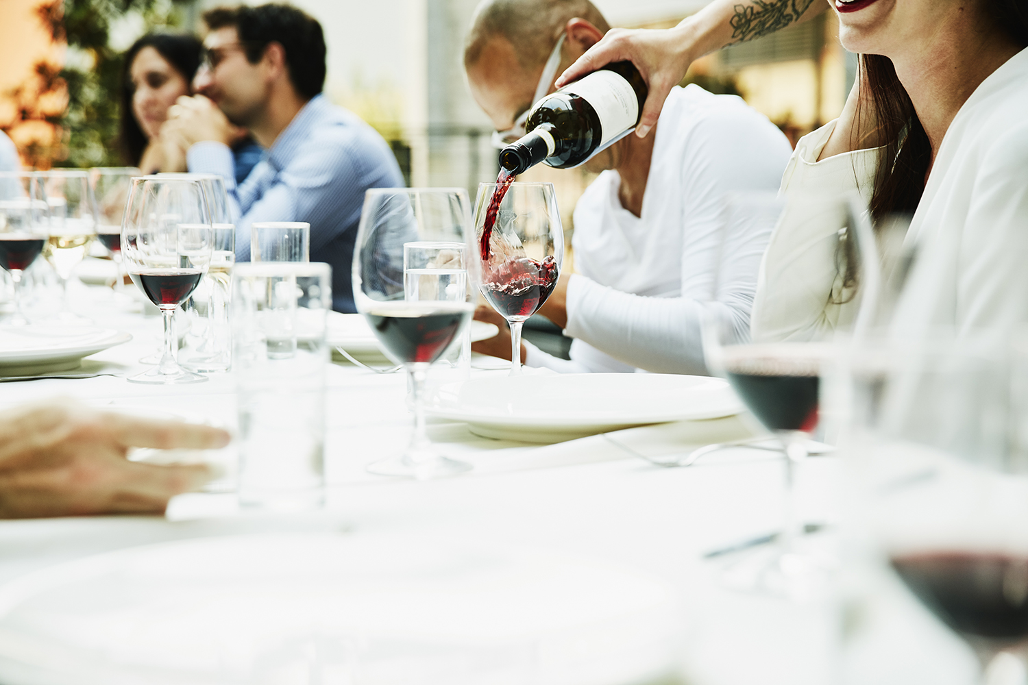 Pouring Wine at Table