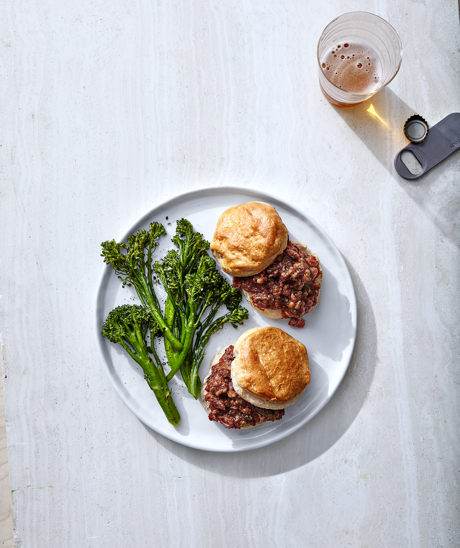 Sloppy Joe Biscuits With Roasted Broccolini
