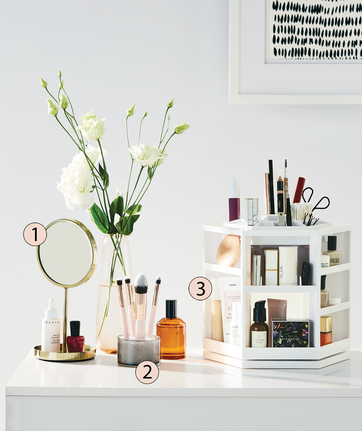 Counter with different kinds of makeup storage