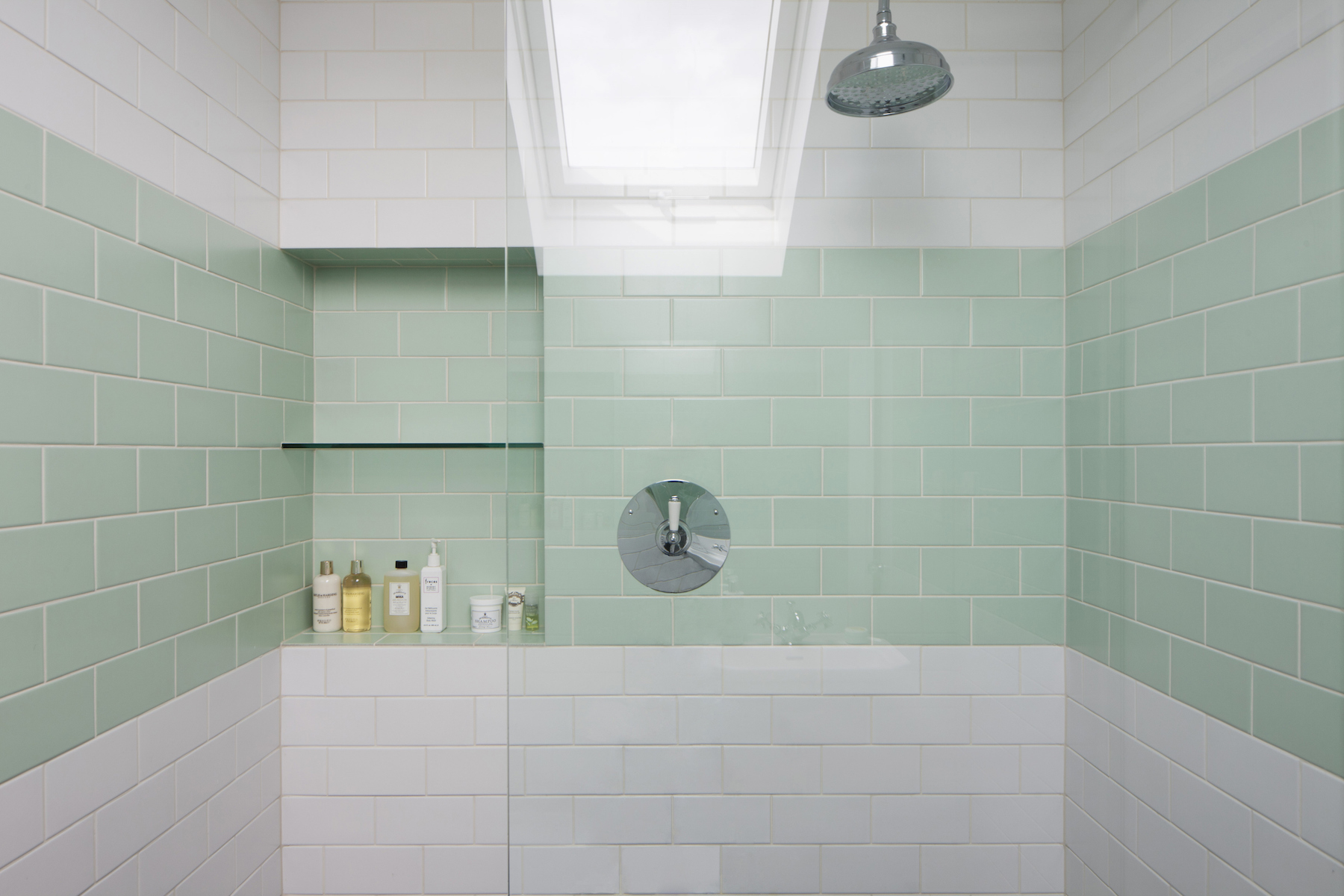 Tiled Bathroom Shower with green and white tiles
