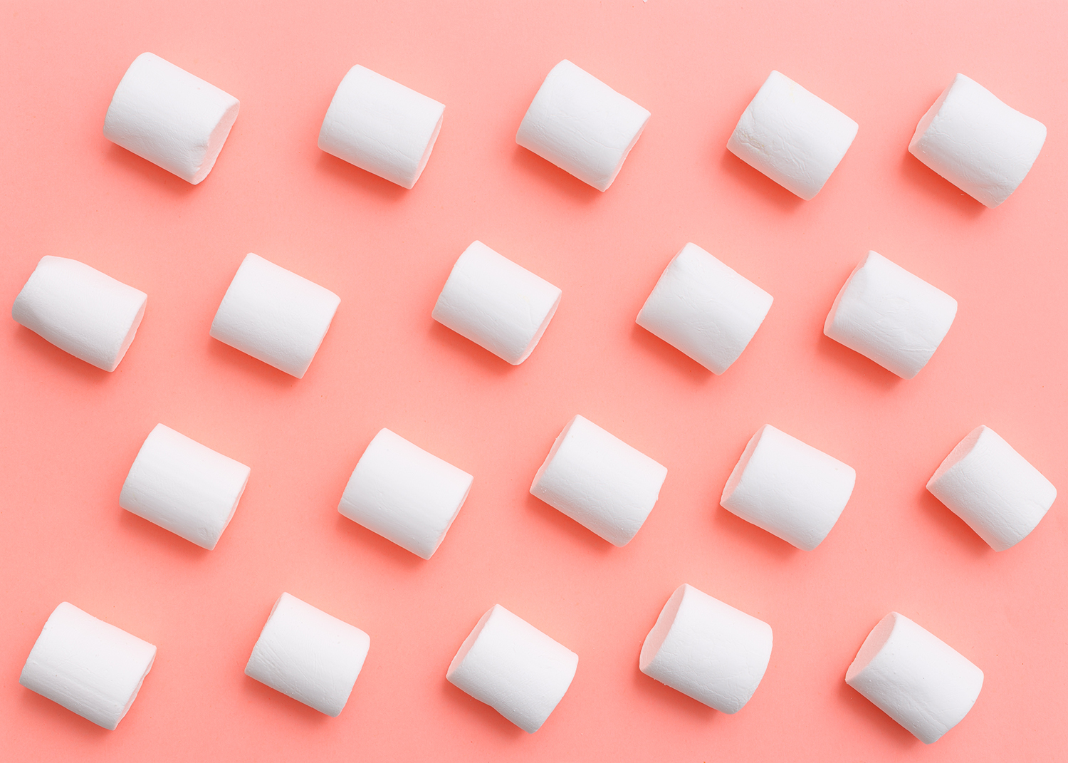 Marshmallows on Pink Background