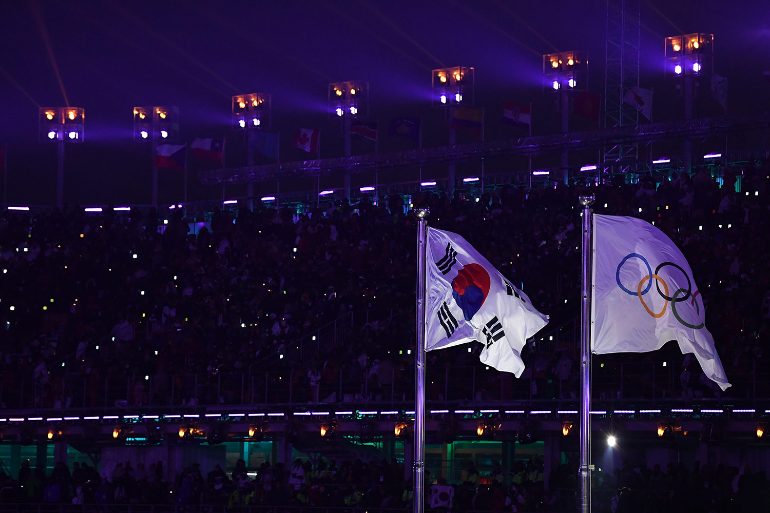 Olympic and Korean Flags