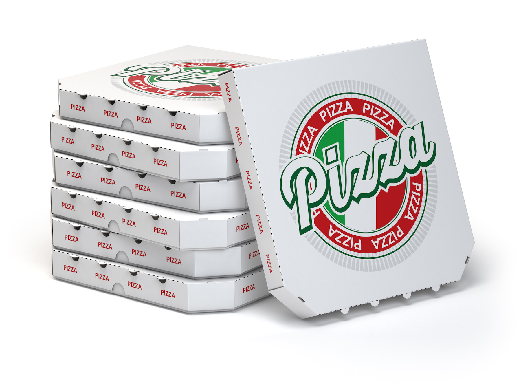 Pile of pizza boxes