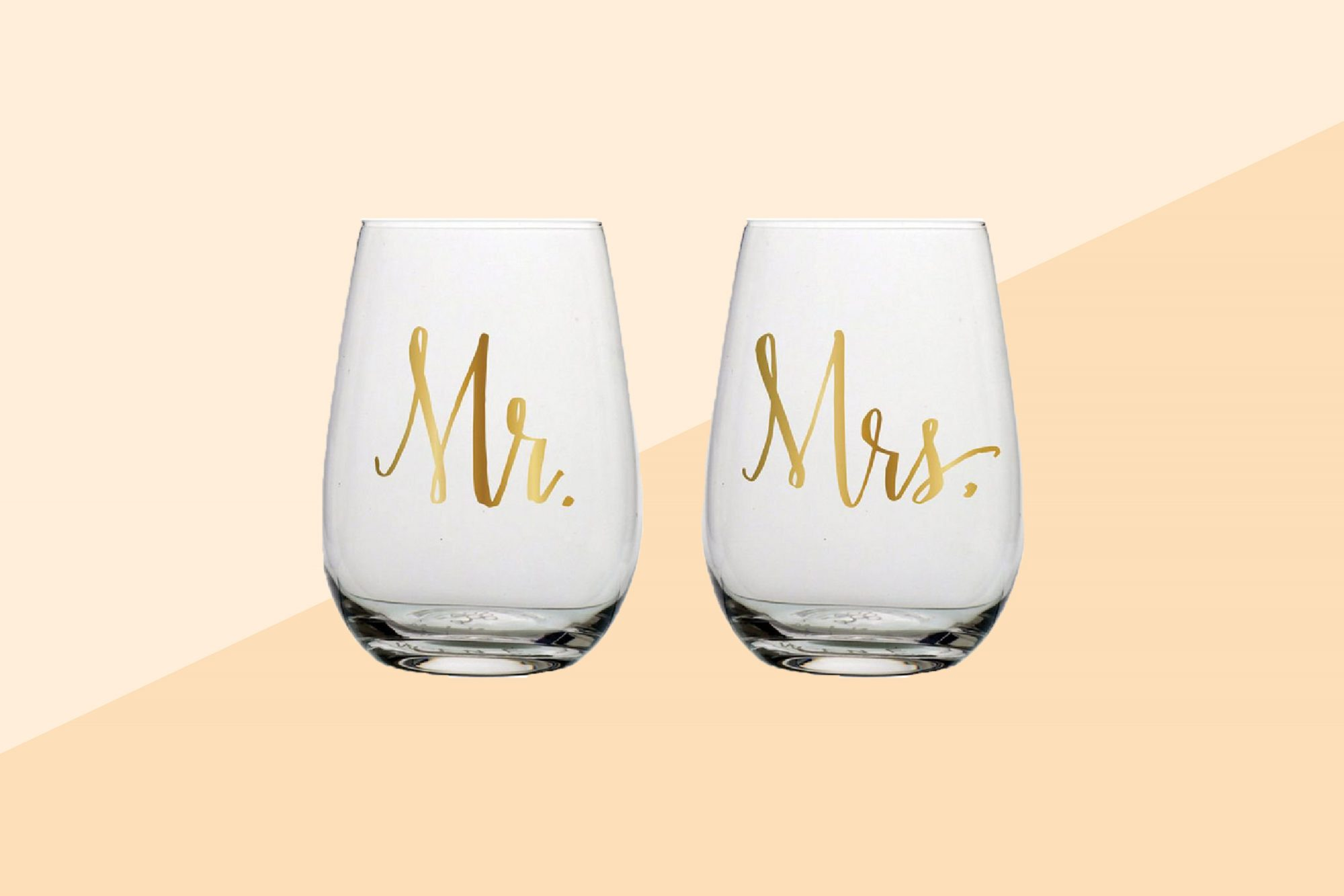 Slant Mr and Mrs Stemless Wine Glasses Set of Two