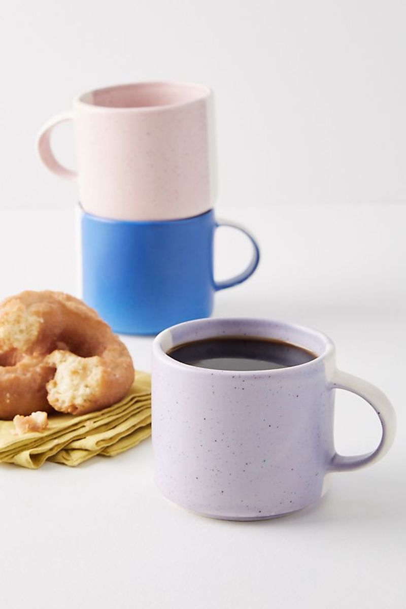 Color Study Mugs with croissant and napkin