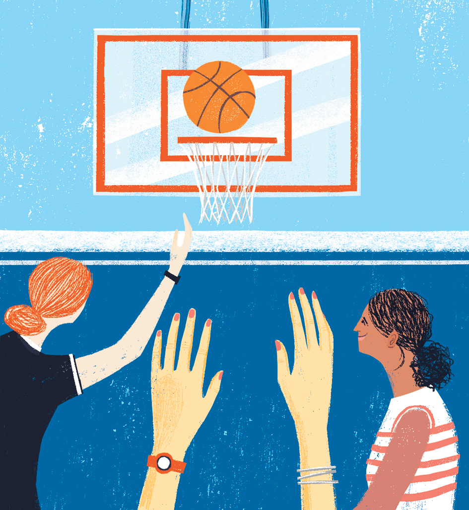 Illustration: women playing basketball
