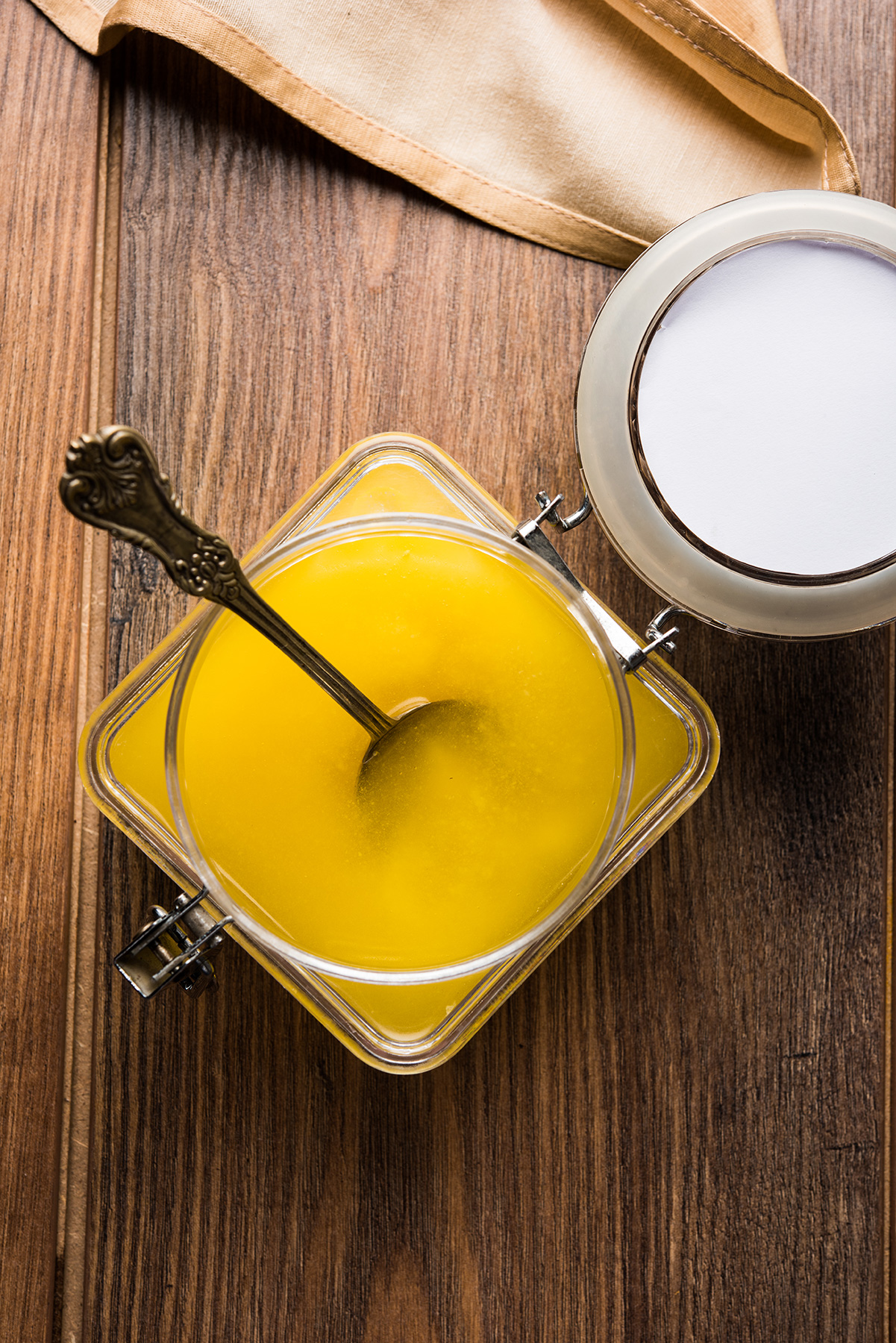 Ghee in glass jar