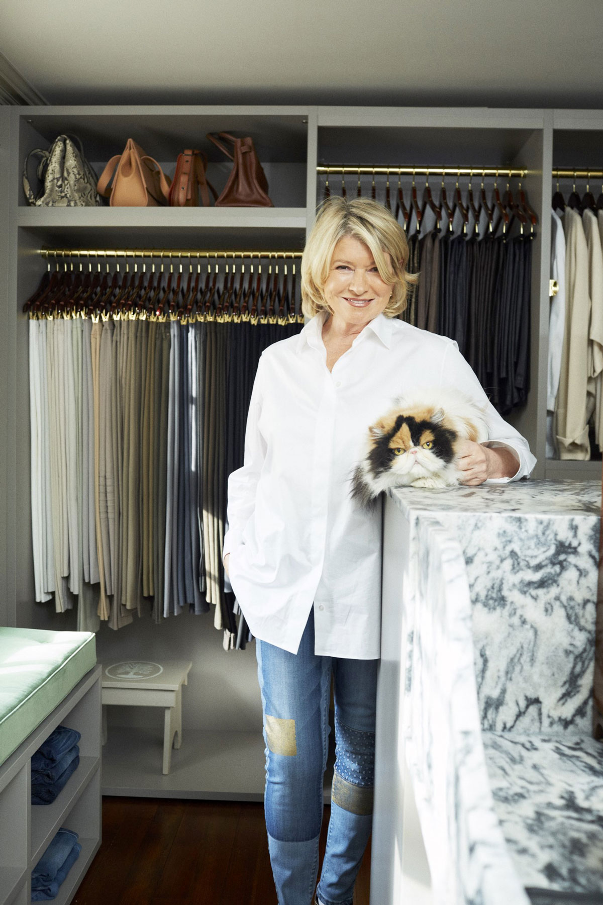 Martha Stewart and cat in her closet
