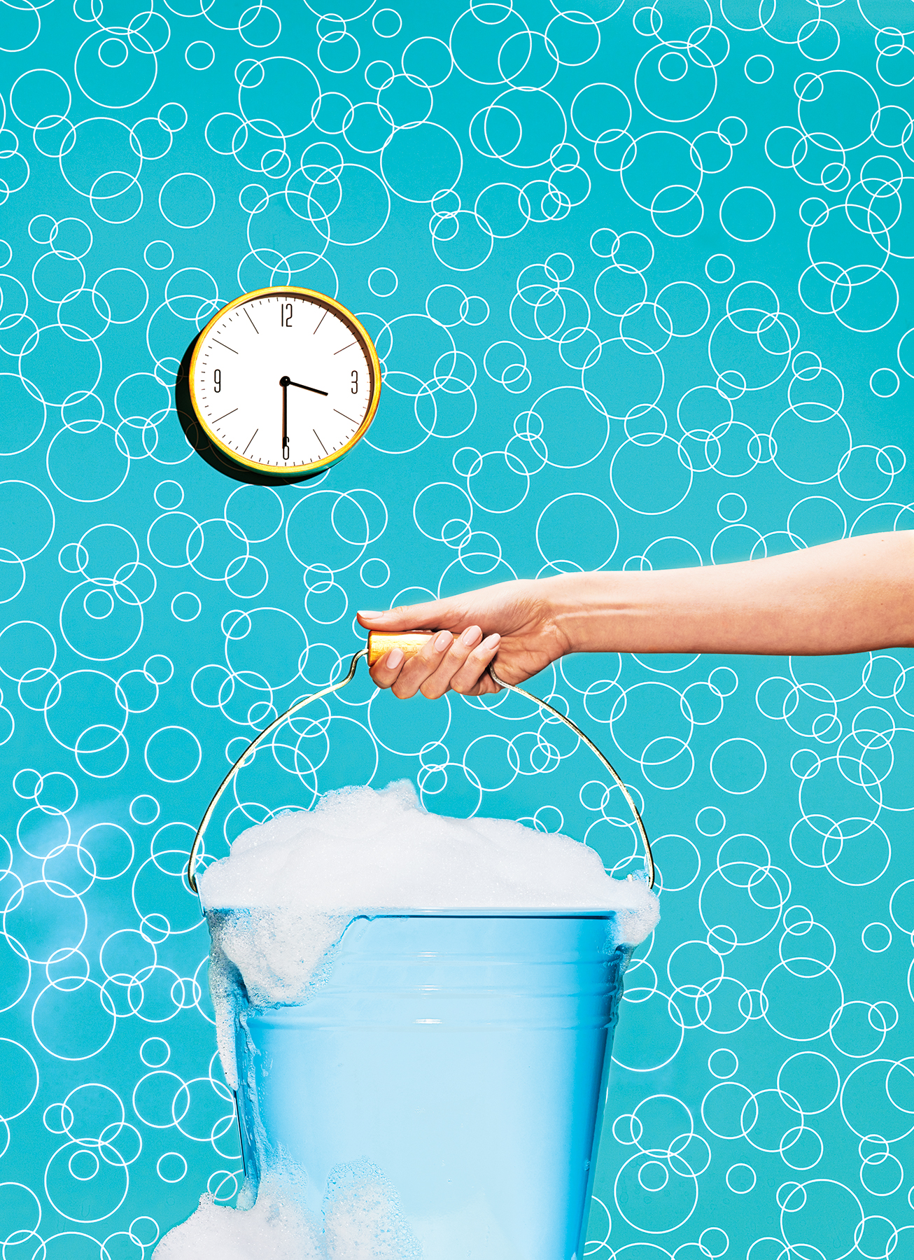 Blue Bucket and Clock