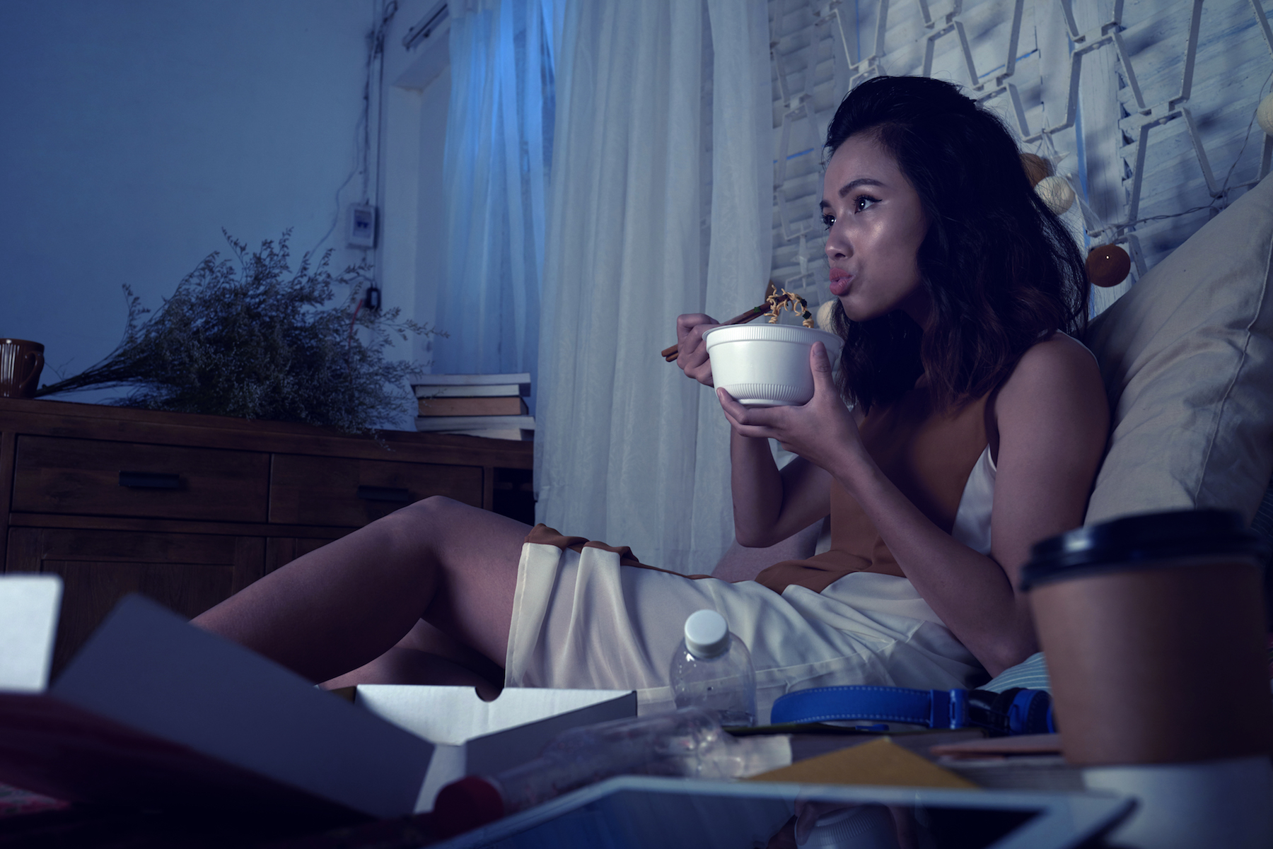 <p>Woman Eating Late Night</p>