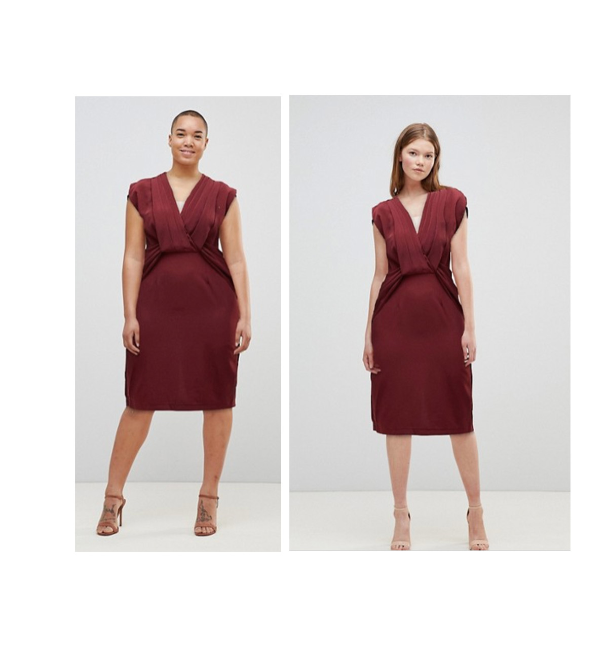 Shopping centre types weight body on bodycon but same dress different price