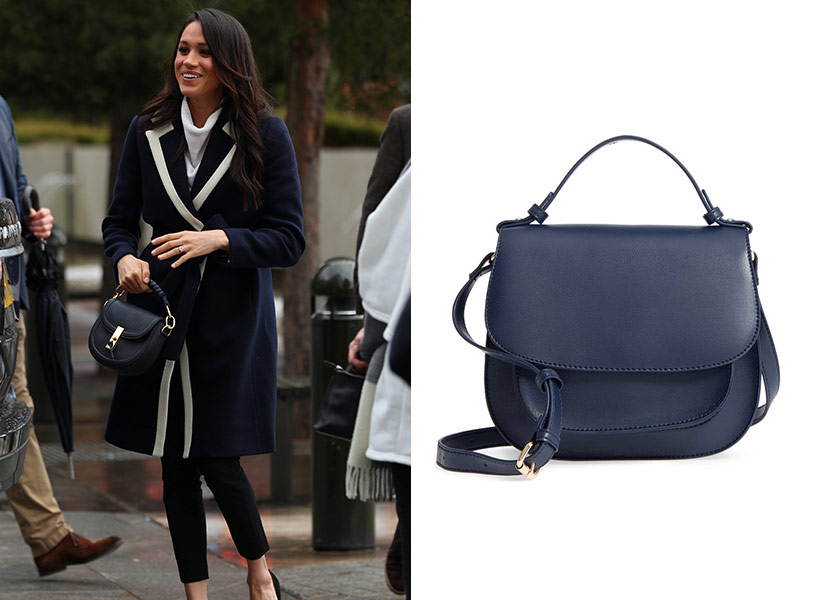 meghan markle blue saddle bag
