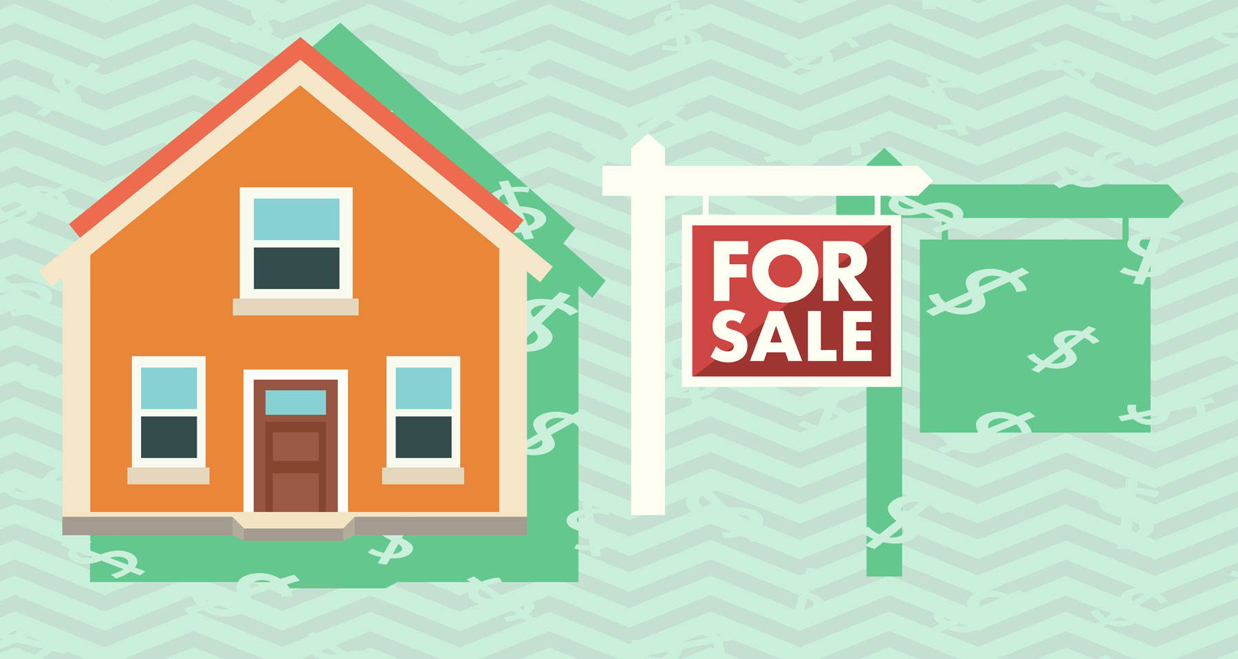 The costs of selling a house or home - home with for sale sign and dollar signs